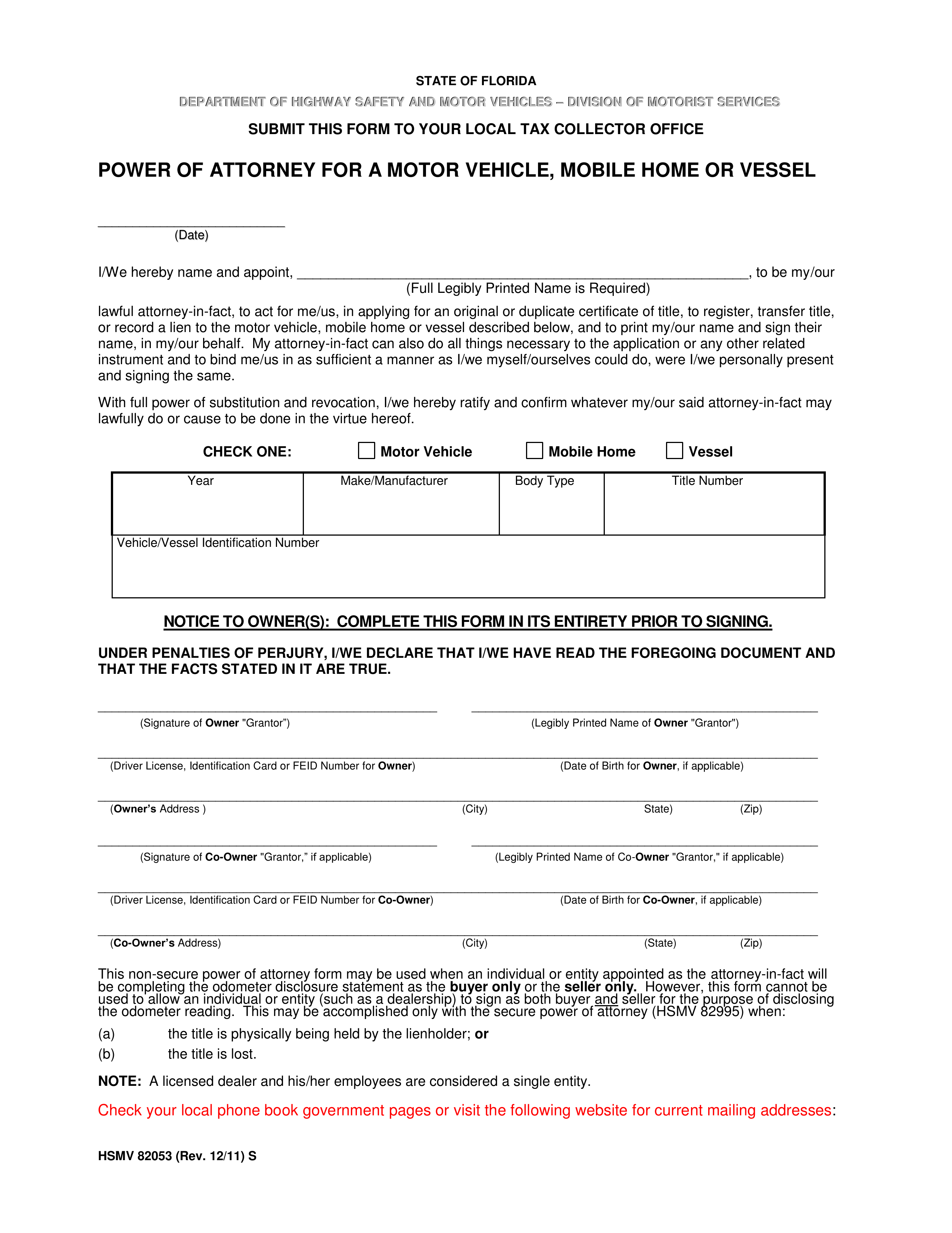 Free Florida Motor Vehicle Power Of Attorney Form HSMV