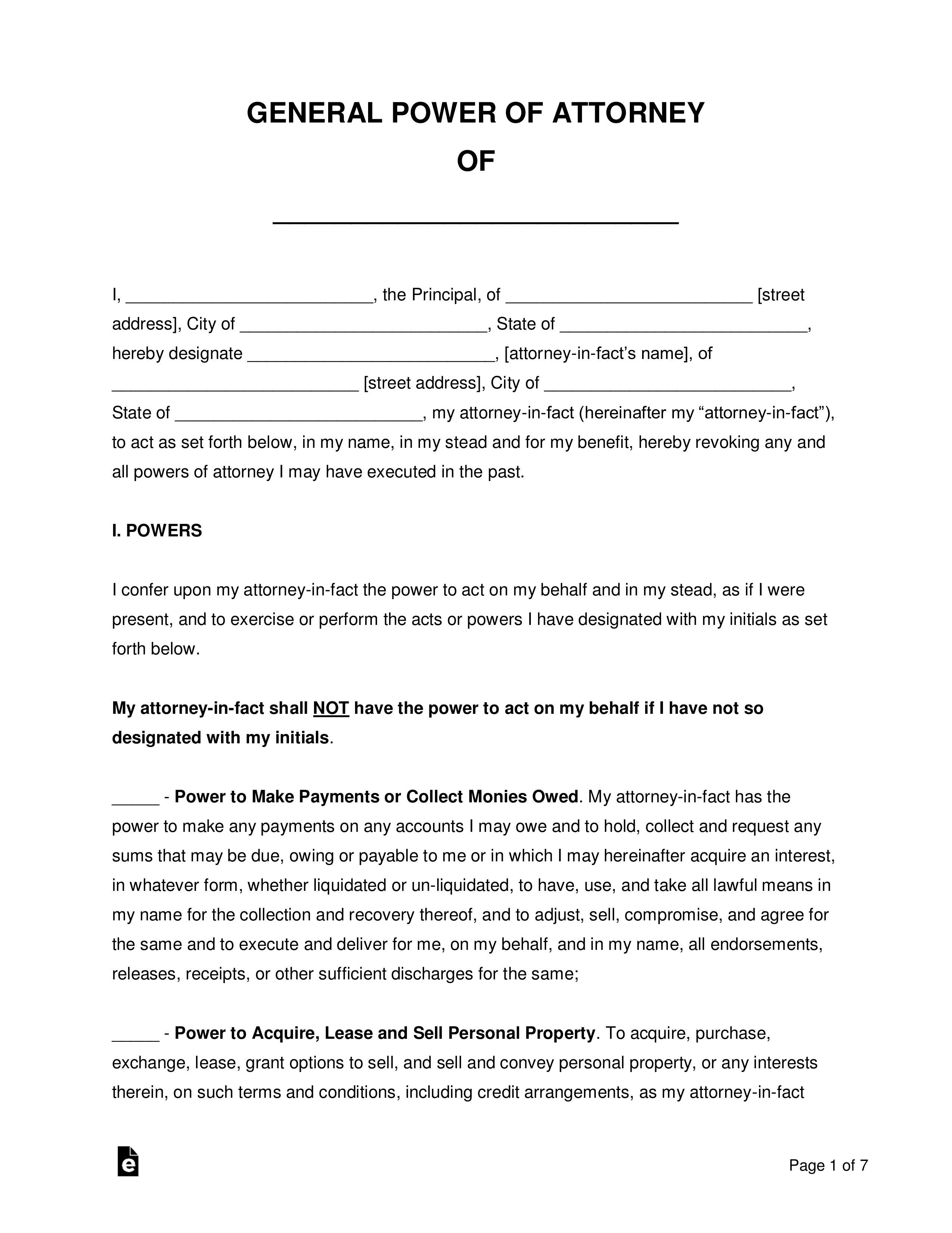Free General Financial Power Of Attorney Form Word
