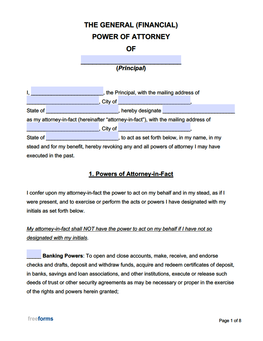 Free General Financial Power Of Attorney Forms PDF WORD