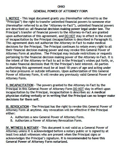 Free General Power Of Attorney Ohio Form Adobe PDF