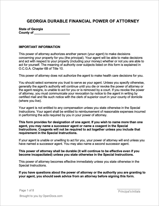 Free Georgia Durable Power Of Attorney Form PDF WORD