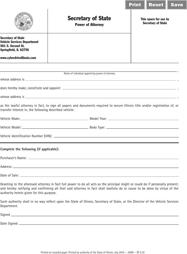 Free Illinois Vehicle Power Of Attorney Form PDF 284KB