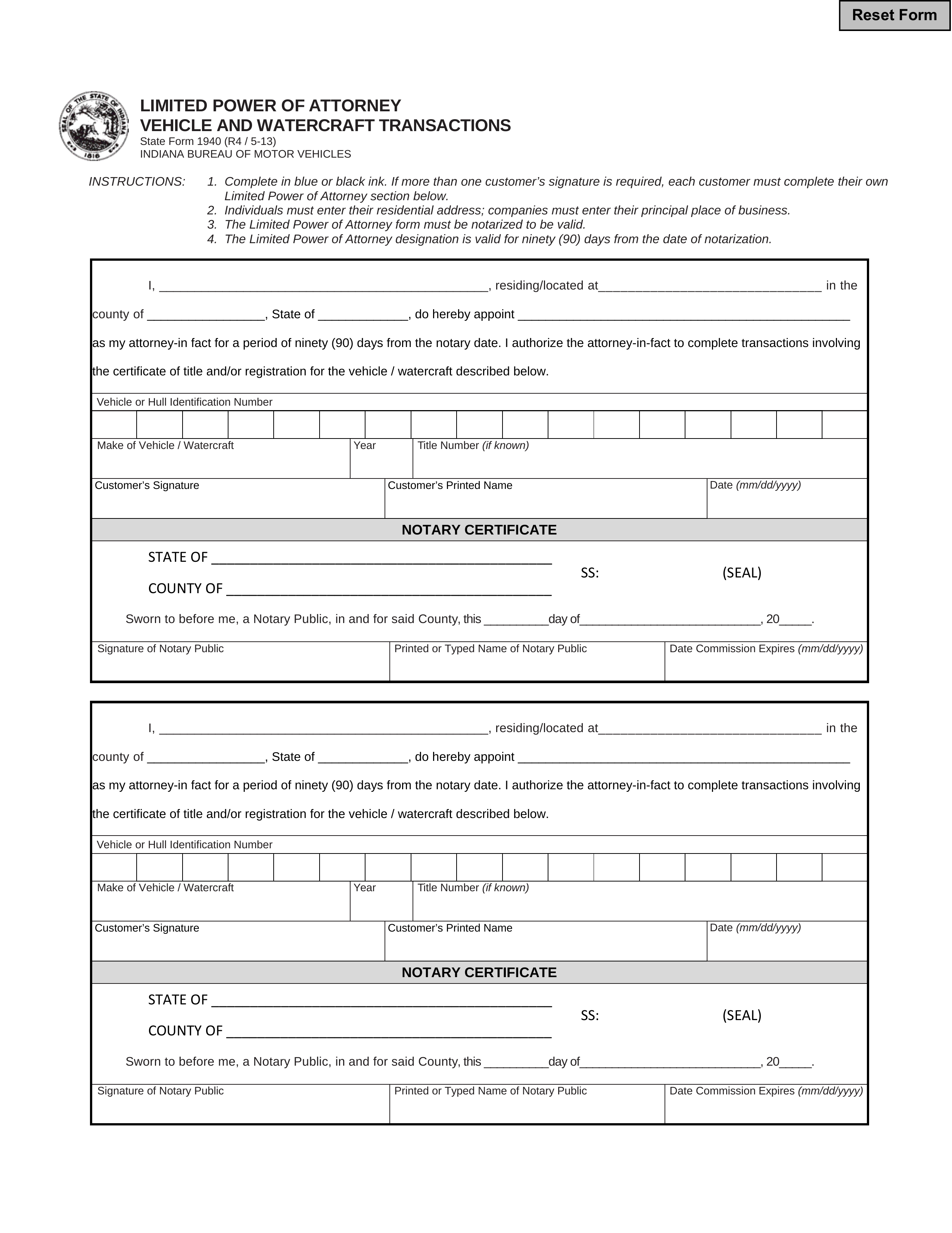 Free Indiana Motor Vehicle Power Of Attorney Form 01940