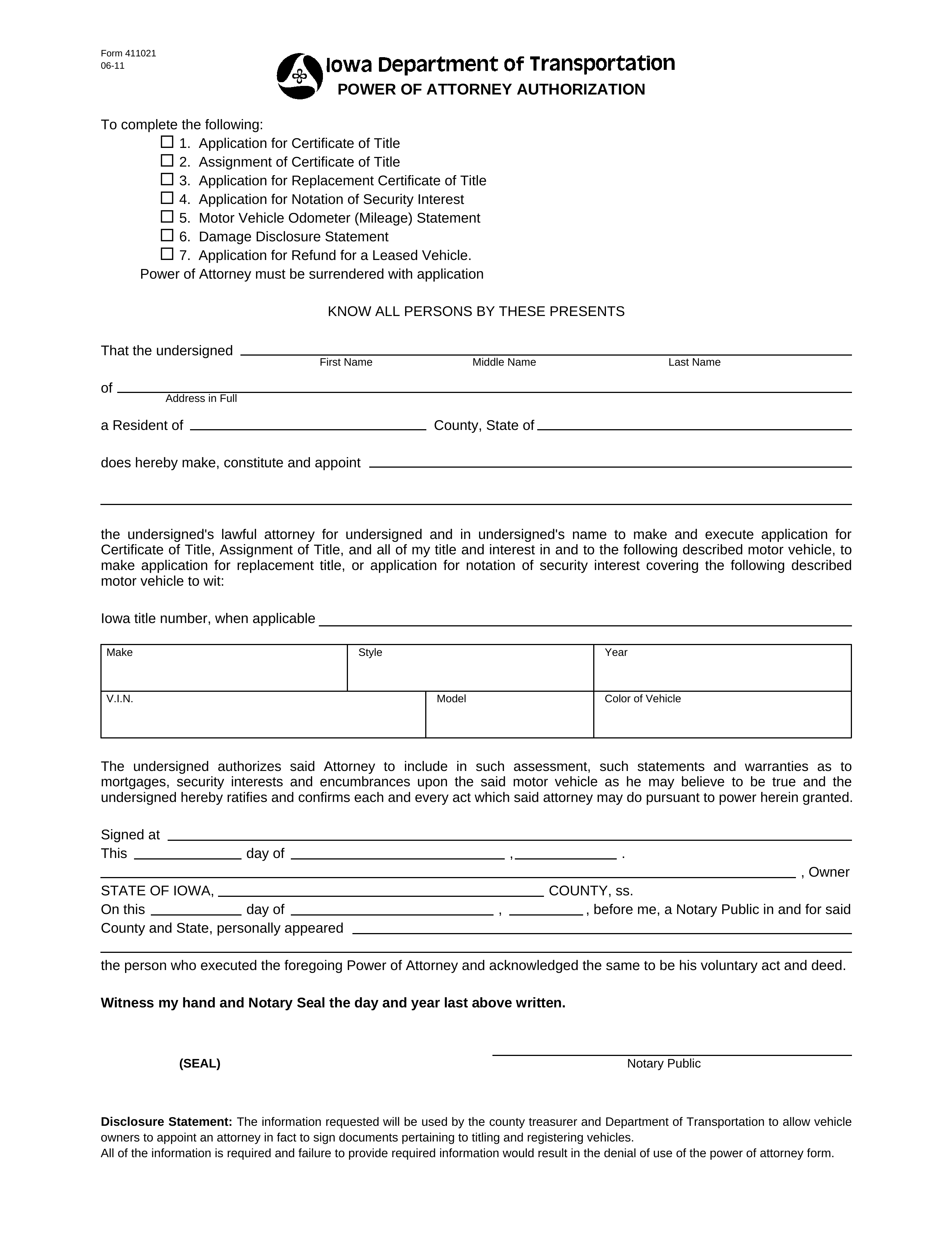 Free Iowa Motor Vehicle Power Of Attorney Form 411021
