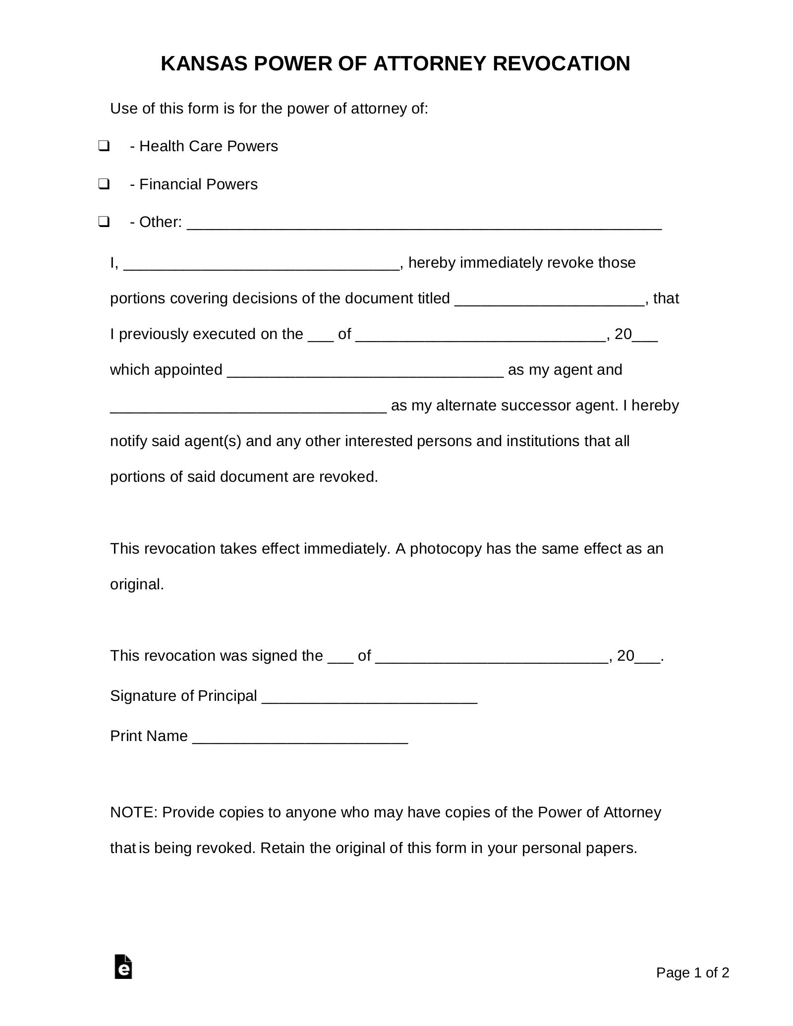 Free Kansas Power Of Attorney Revocation Form PDF Word