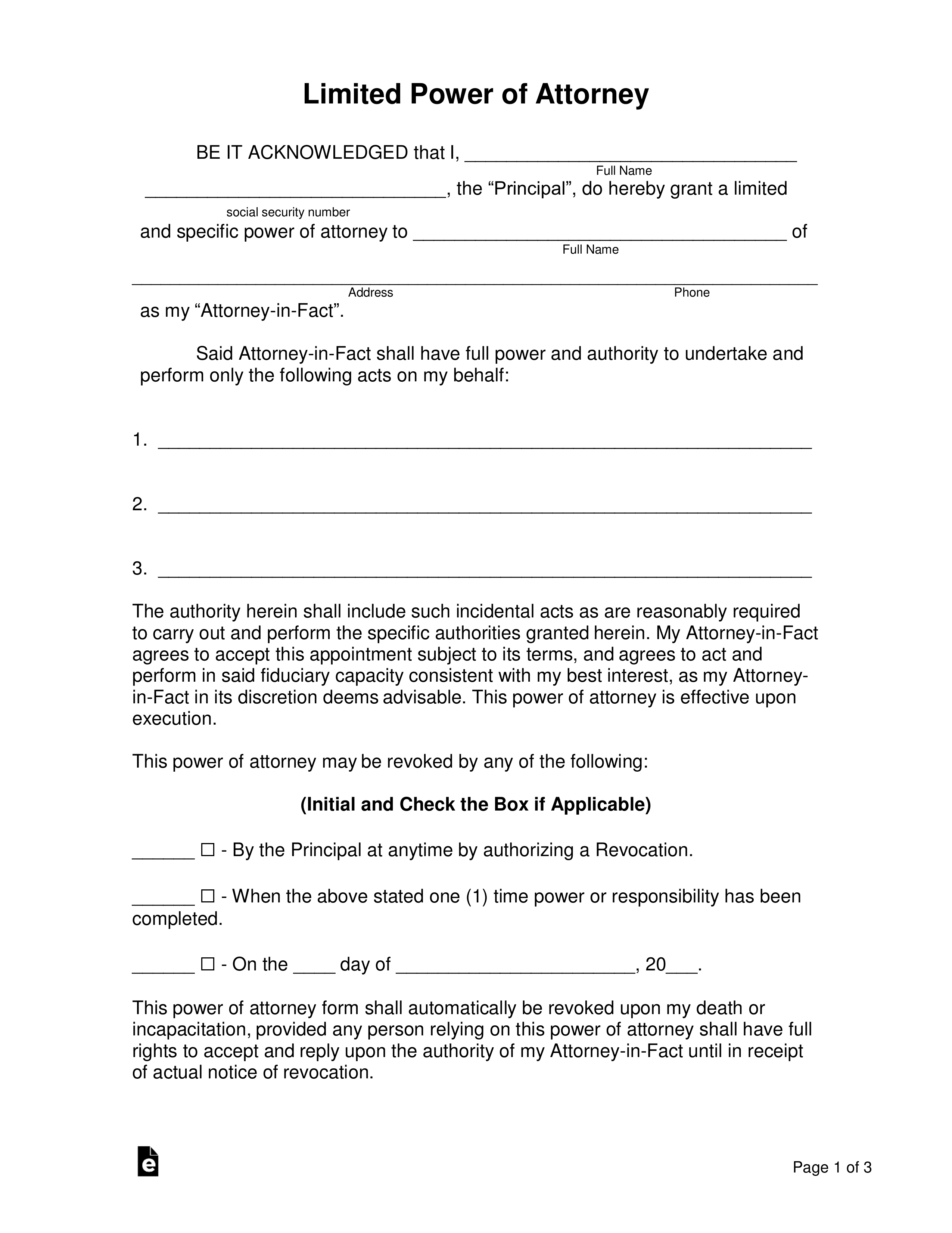 Free Limited Special Power Of Attorney Forms PDF