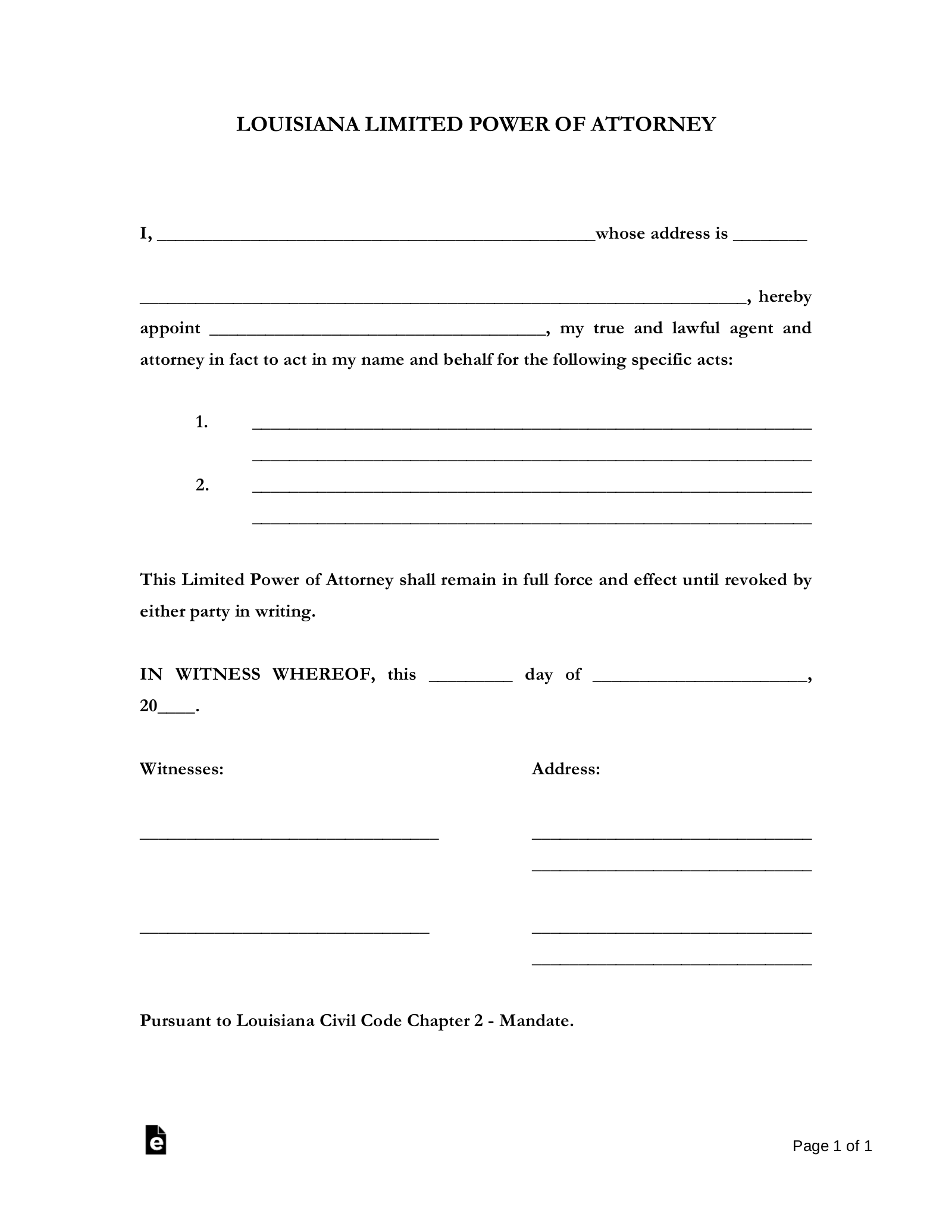 Free Louisiana Limited Power Of Attorney Form PDF Word