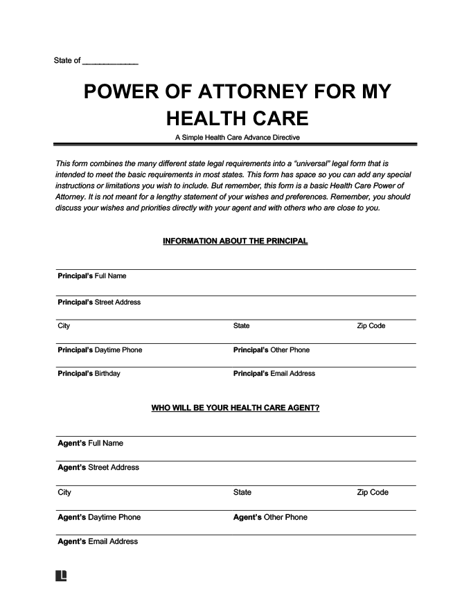 Free Medical Power Of Attorney Form Blank Printable