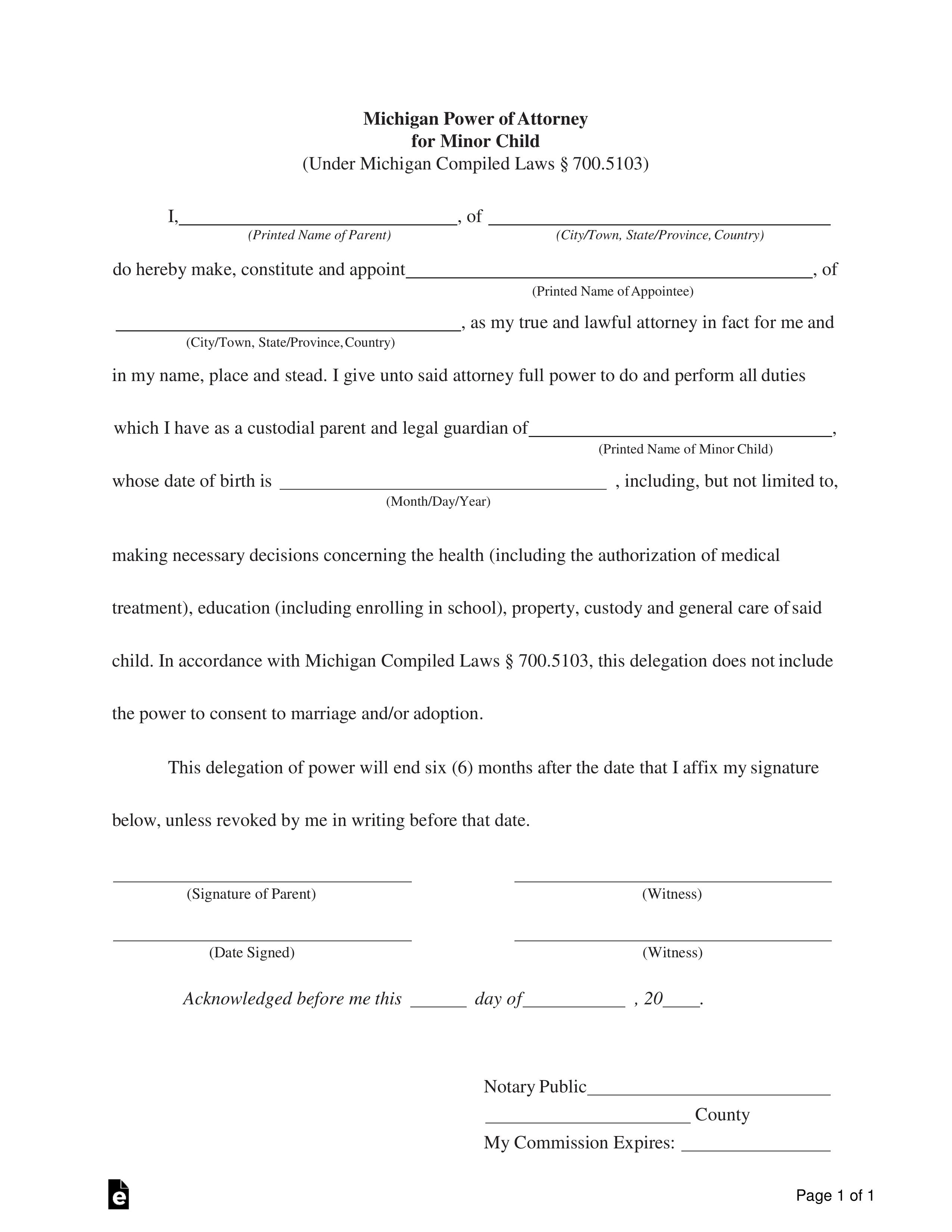 Free Michigan Power Of Attorney For Minor Child Form PDF