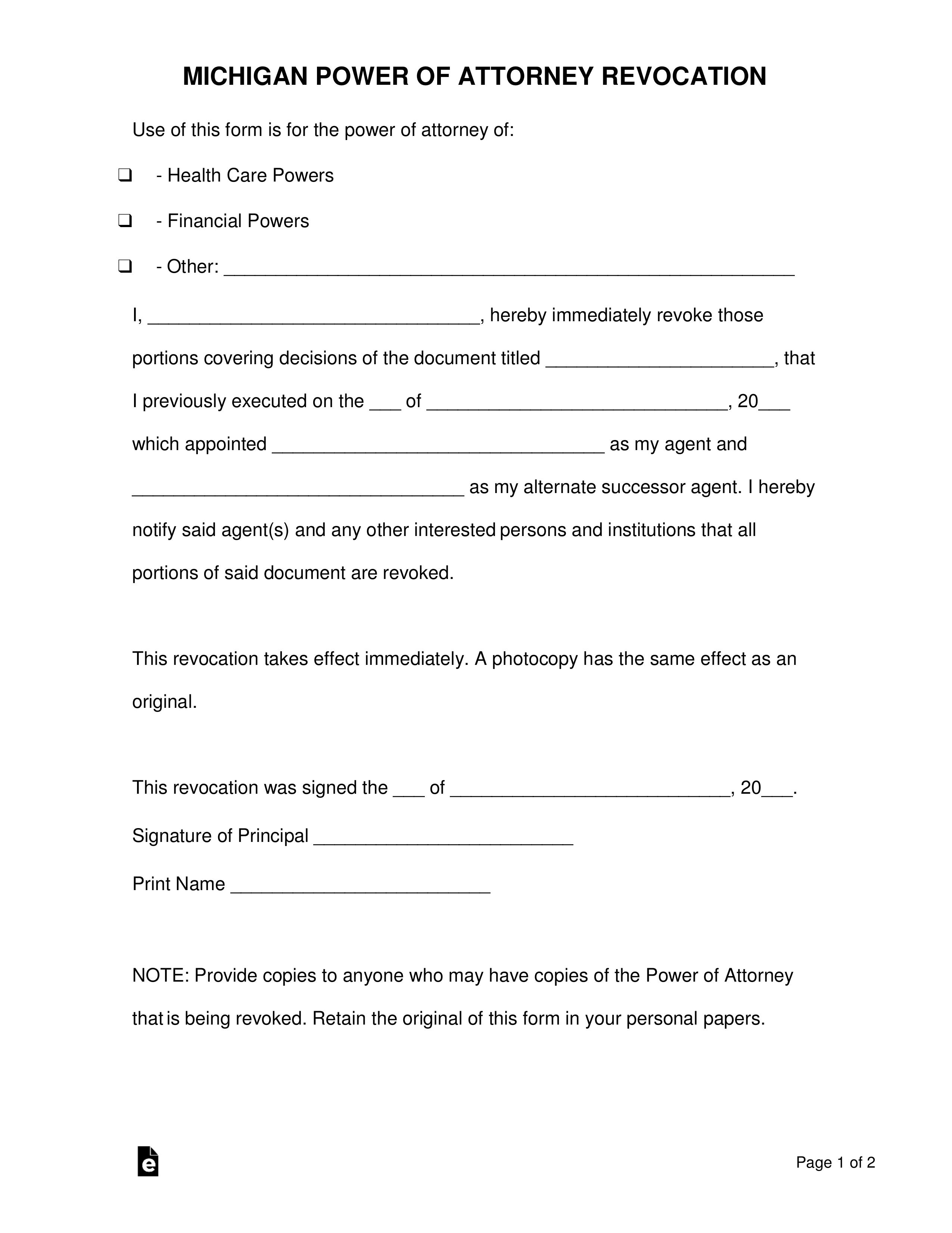 Free Michigan Power Of Attorney Revocation Form PDF