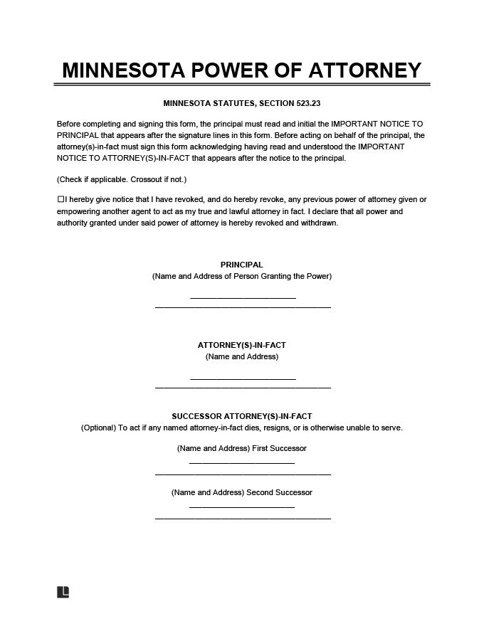 Free Minnesota Power Of Attorney Forms PDF Word