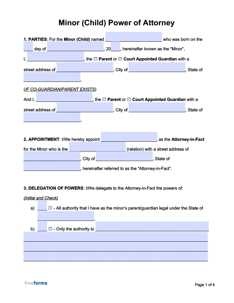 Free Minor Child Power Of Attorney Forms PDF WORD