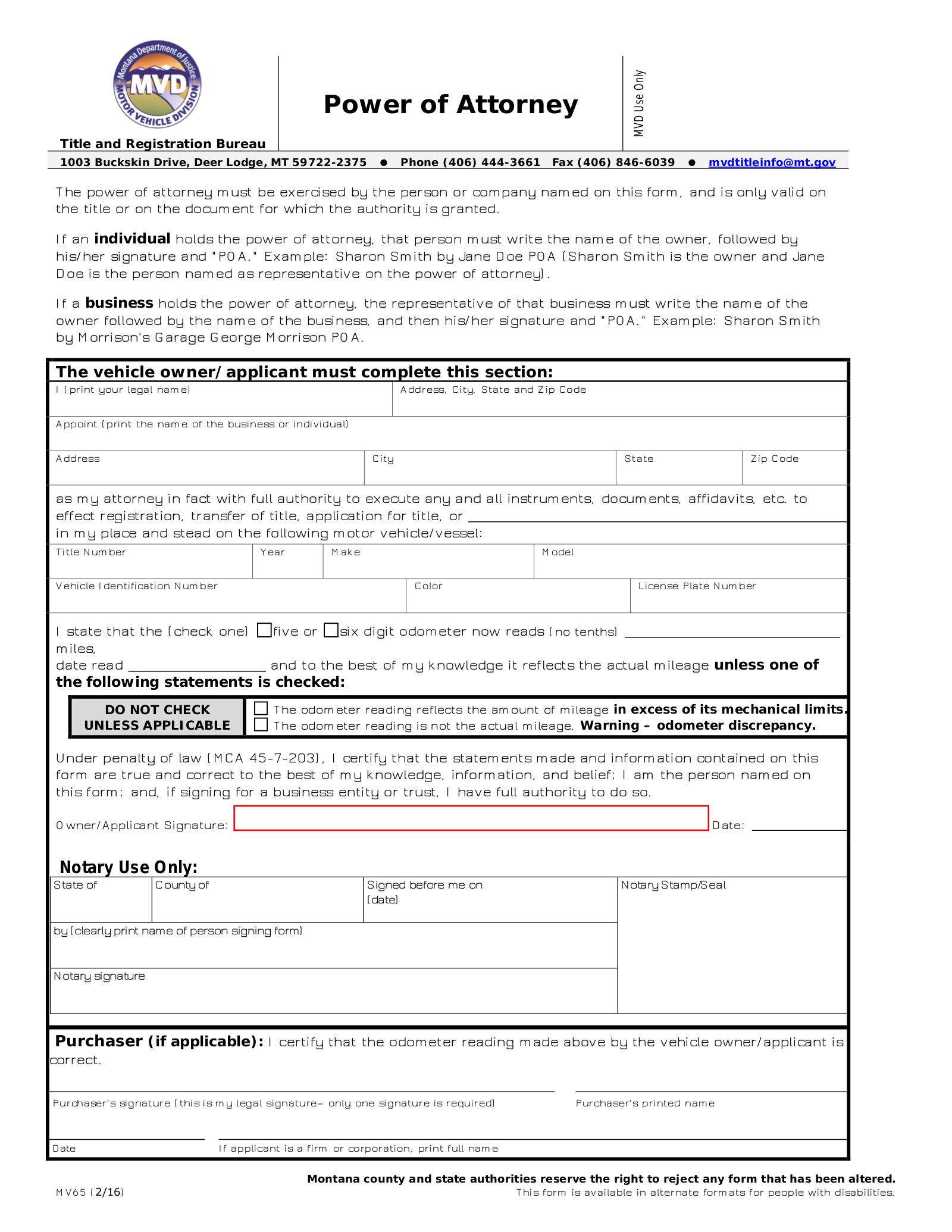 Free Montana Motor Vehicle Power Of Attorney Form MV65