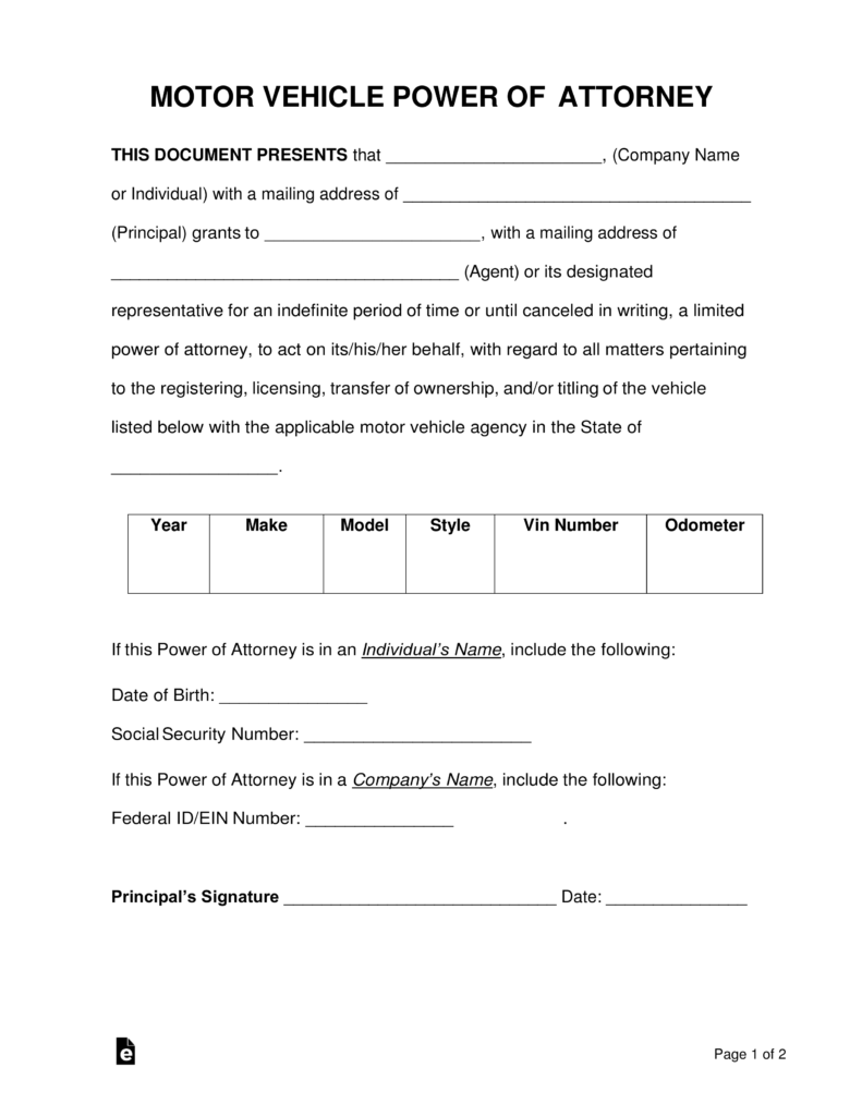 Free Motor Vehicle Power Of Attorney Forms PDF Word