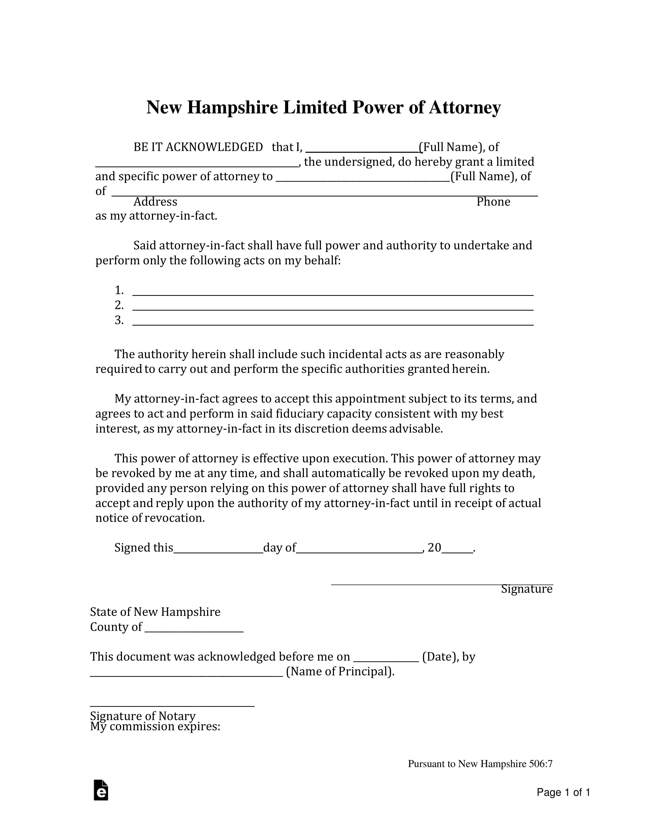 Free New Hampshire Limited Power Of Attorney Form PDF