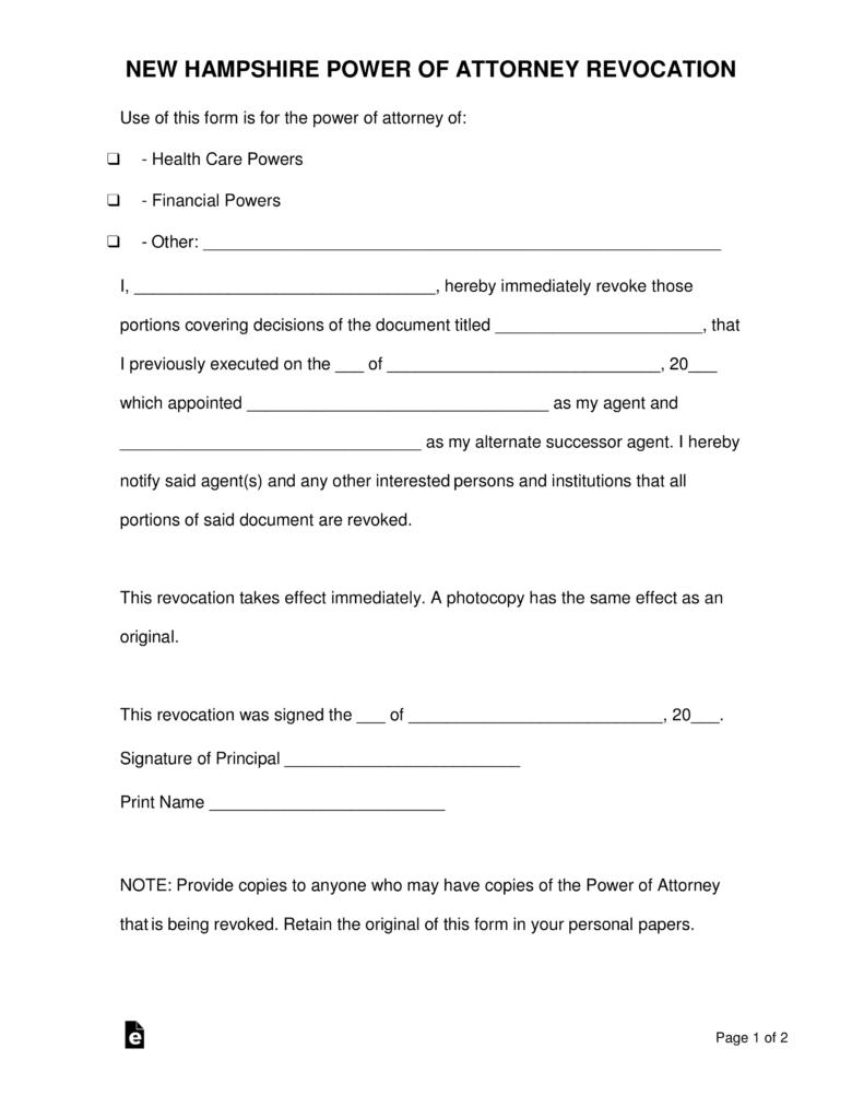 Free New Hampshire Revocation Power Of Attorney Form PDF