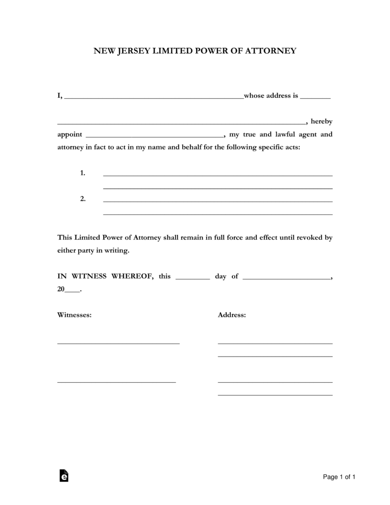 Free New Jersey Limited Power Of Attorney Form PDF