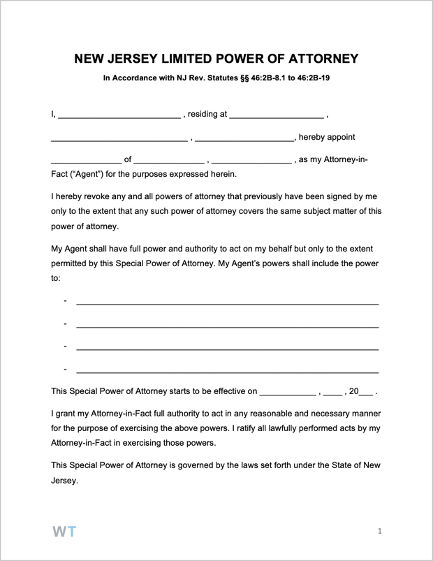 Free New Jersey Limited Special Power Of Attorney Form