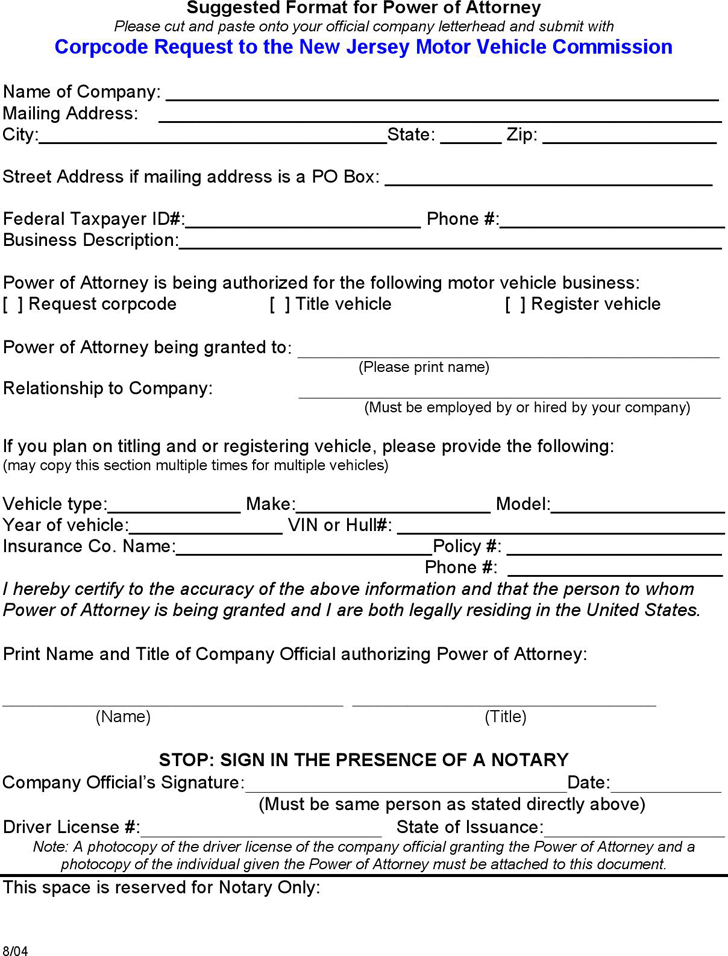 Free New Jersey Motor Vehicle Power Of Attorney Form PDF