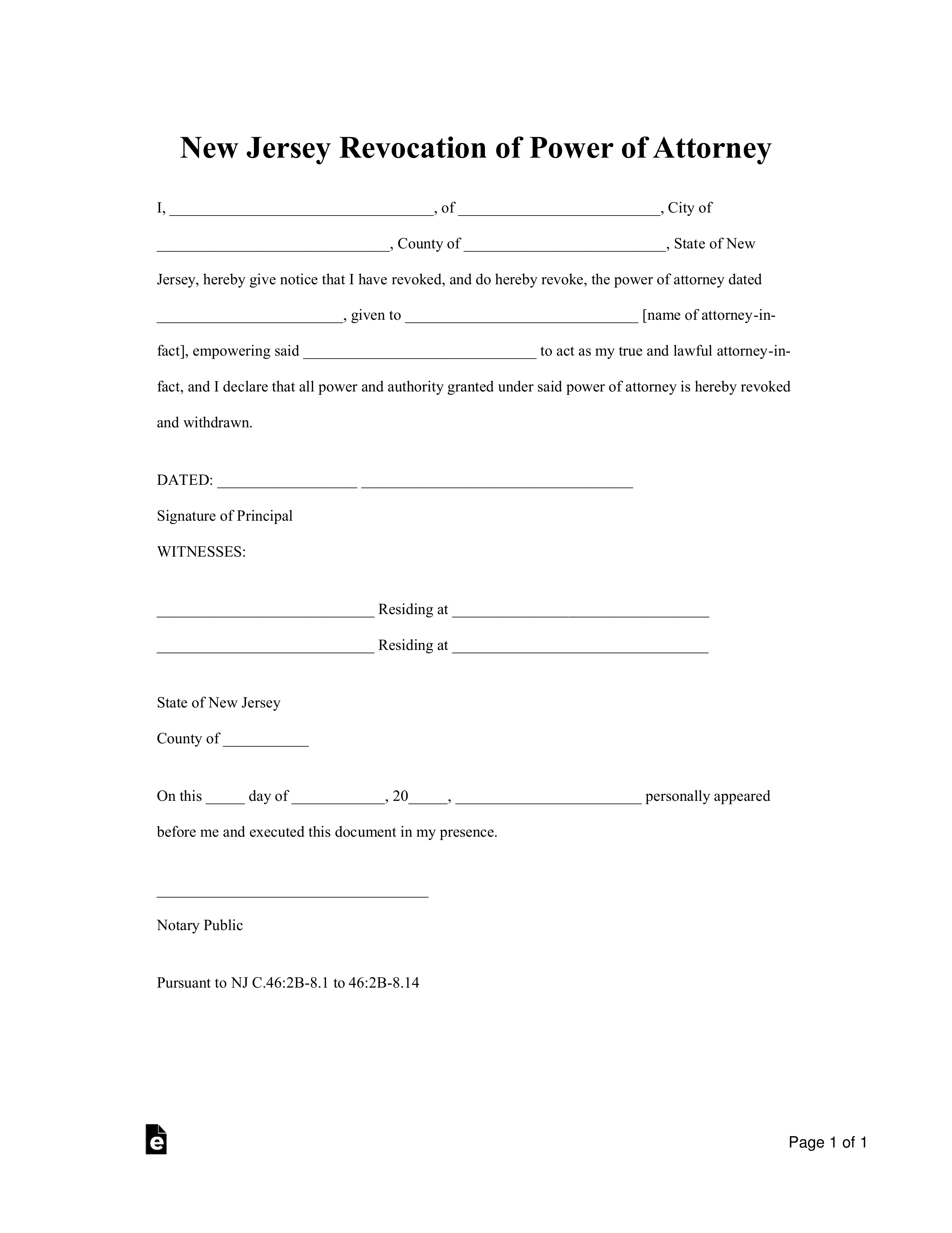 Free New Jersey Revocation Power Of Attorney Form PDF