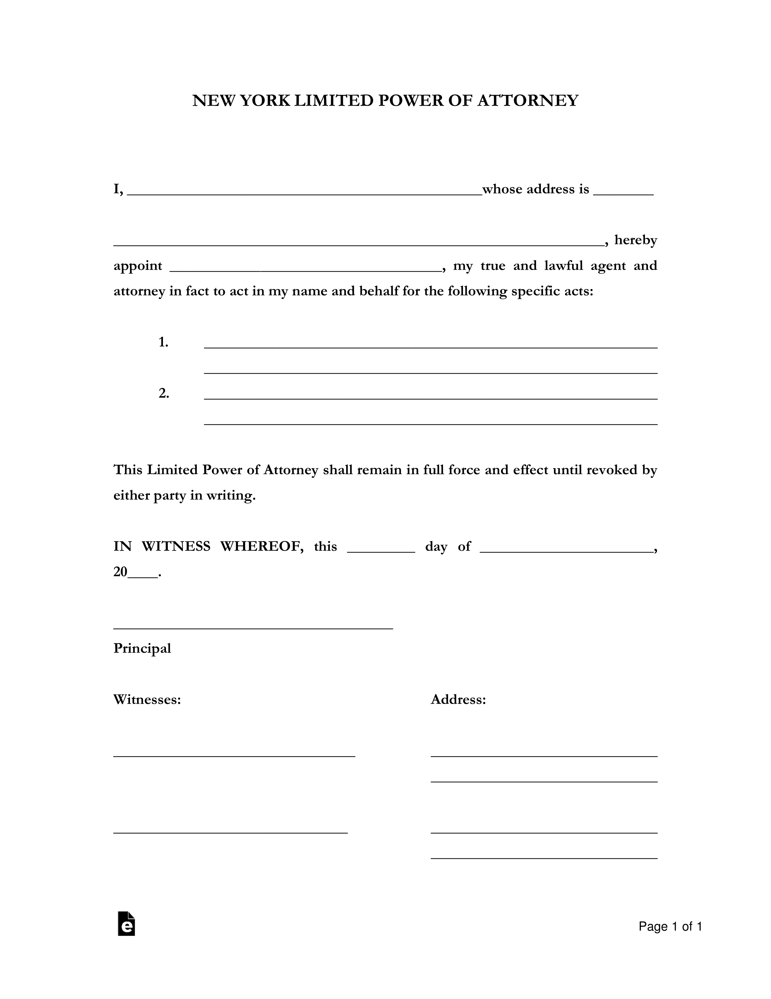 Free New York Limited Power Of Attorney Form PDF Word