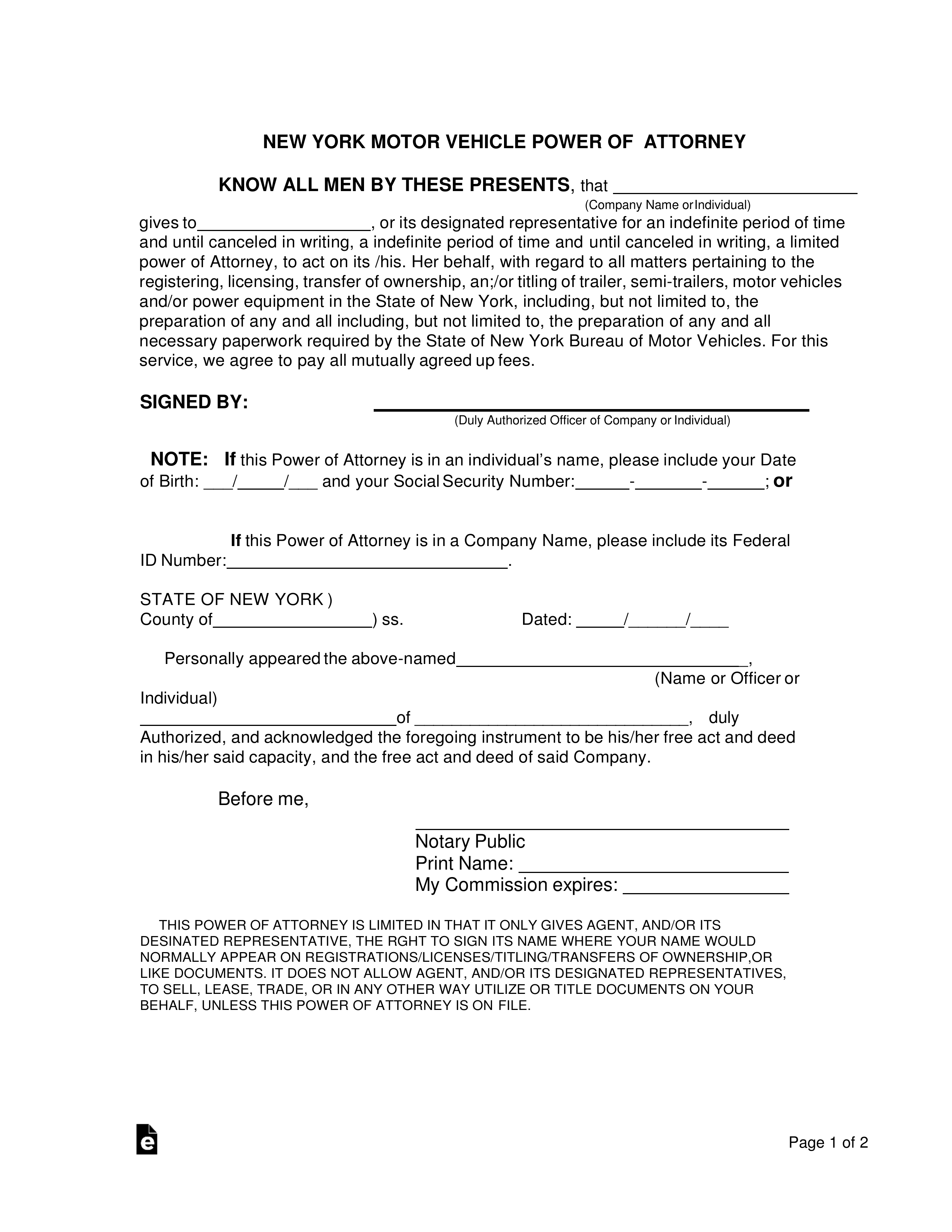 Free New York Motor Vehicle Power Of Attorney Form PDF
