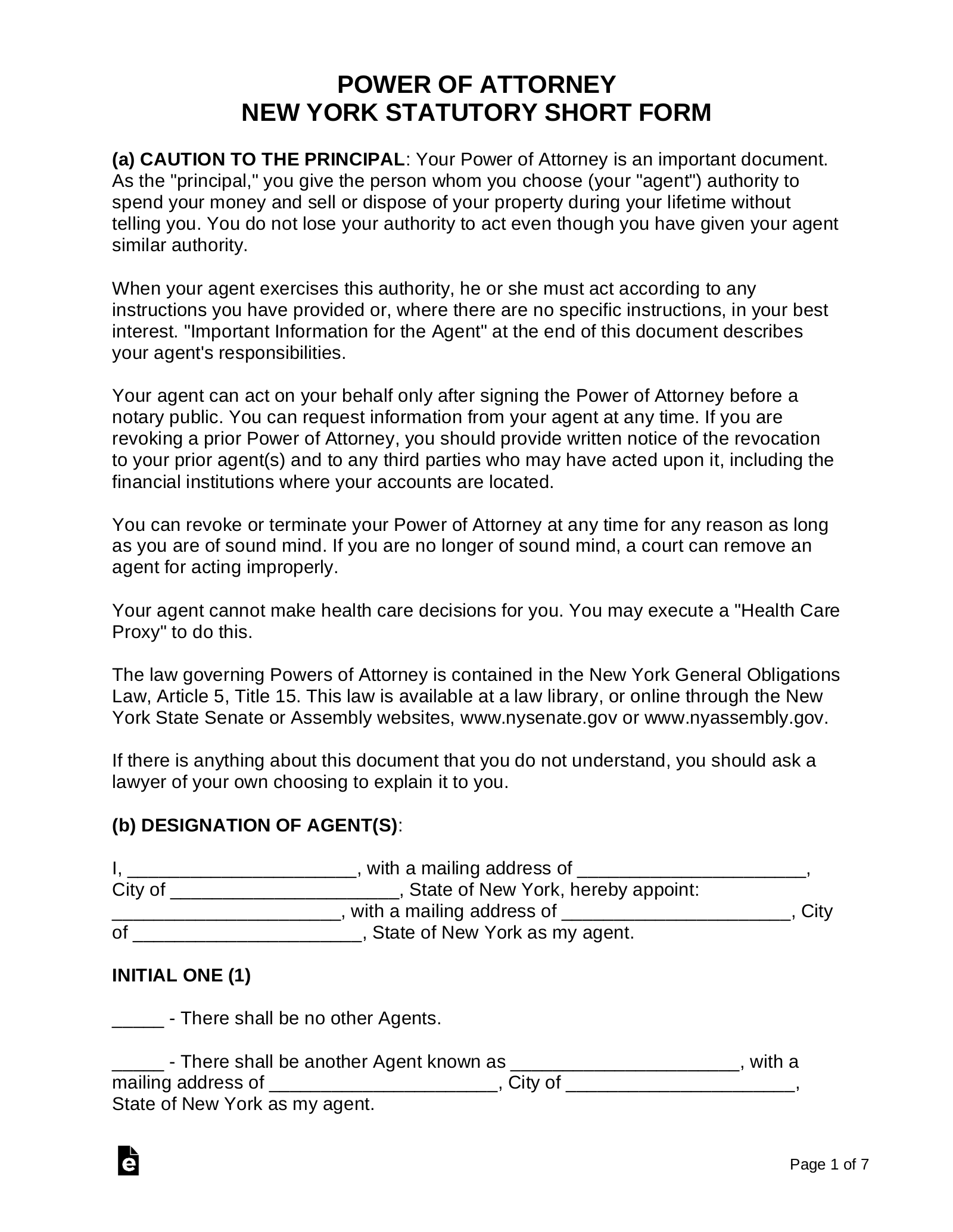 Free New York Power Of Attorney Forms PDF Word