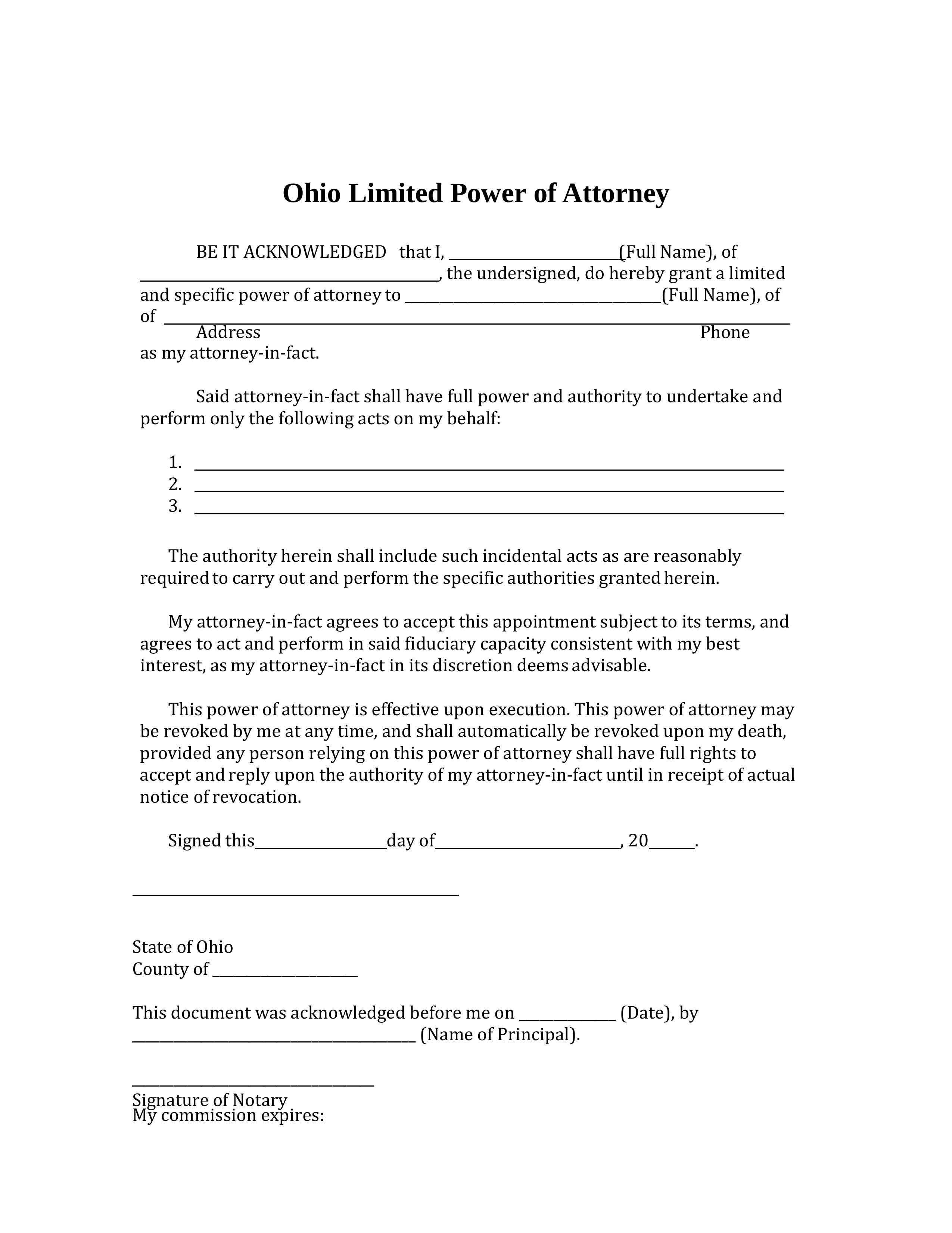 Free Ohio Limited Power Of Attorney Form PDF Word EForms