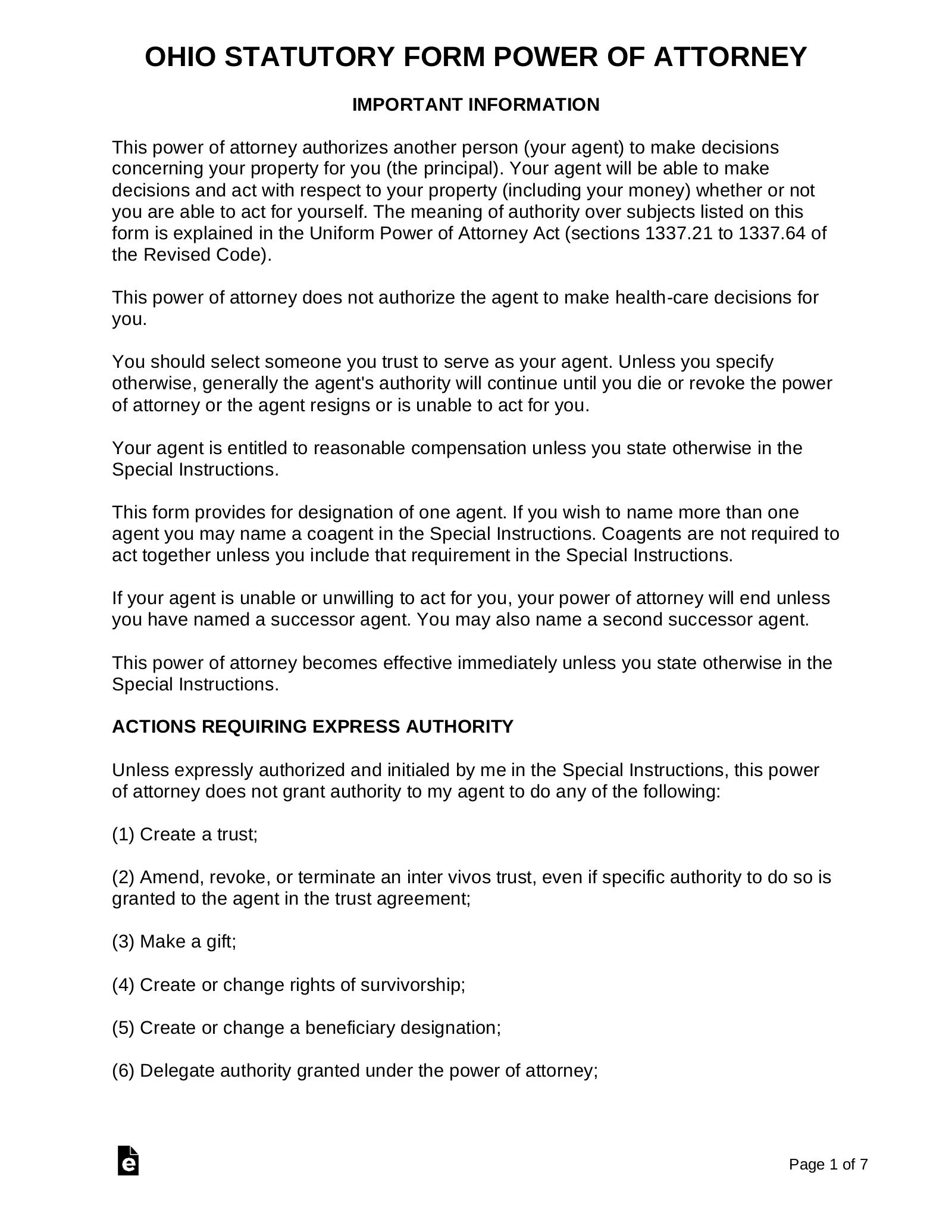 Free Ohio Power Of Attorney Forms Word PDF EForms