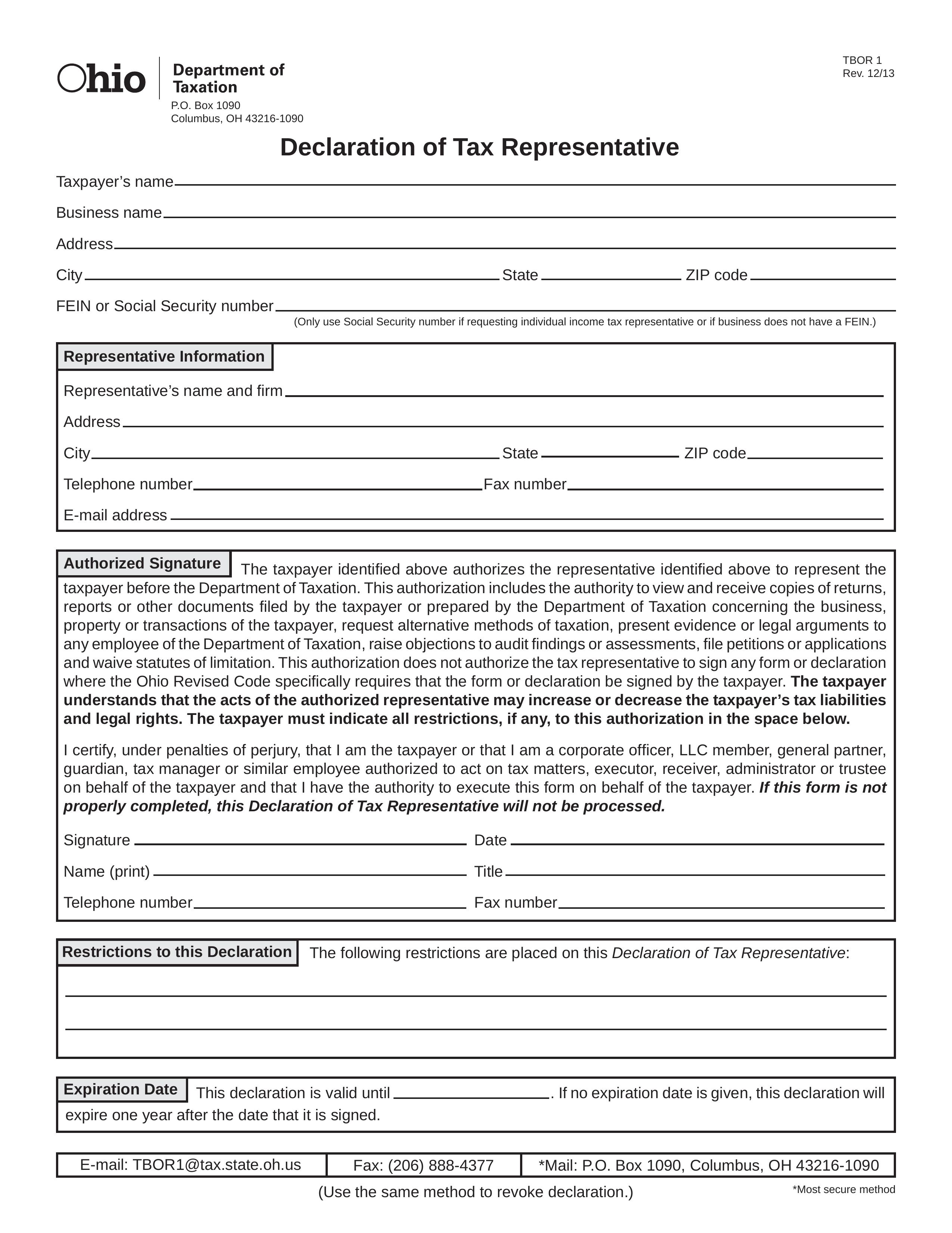 Free Ohio Tax Power Of Attorney Form TBOR 1 PDF EForms