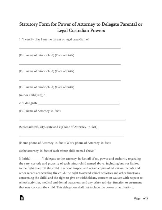 Free Oklahoma Minor Child Parental Power Of Attorney