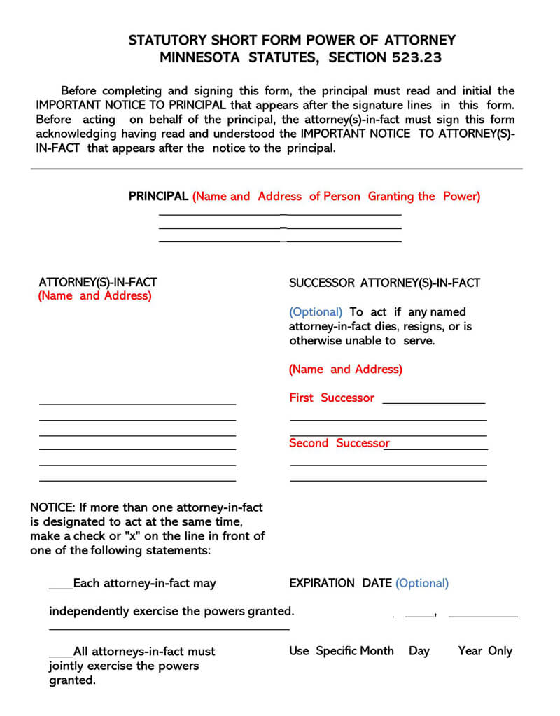 Free Power Of Attorney POA Forms by State Word PDF