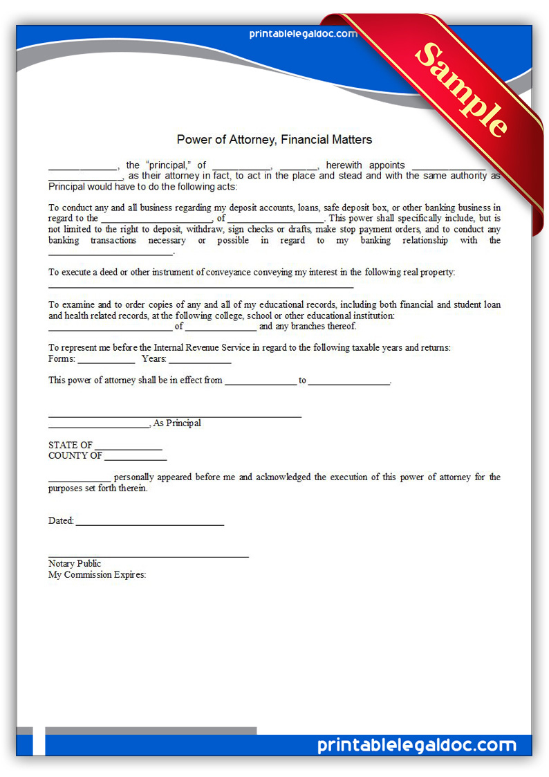 Free Printable Power Of Attorney Financial Matters Form