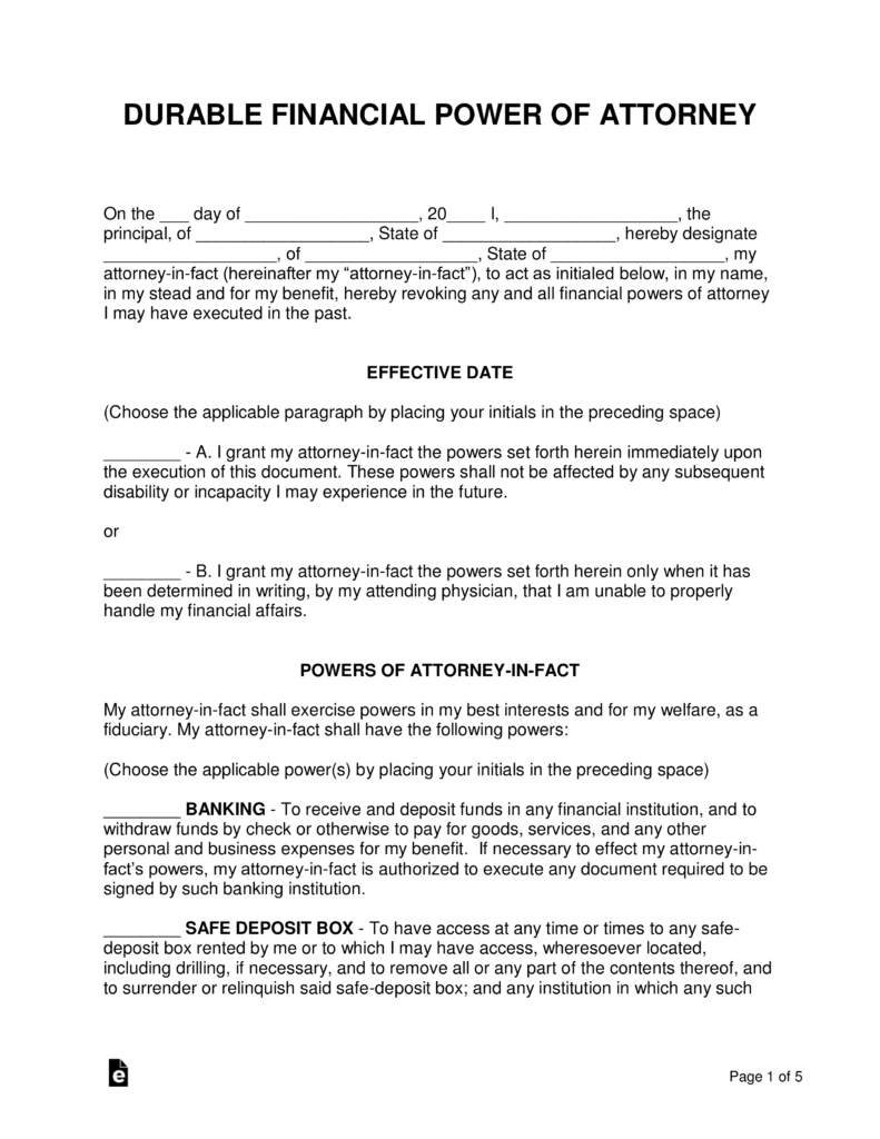 Free Printable Power Of Attorney Form California Free