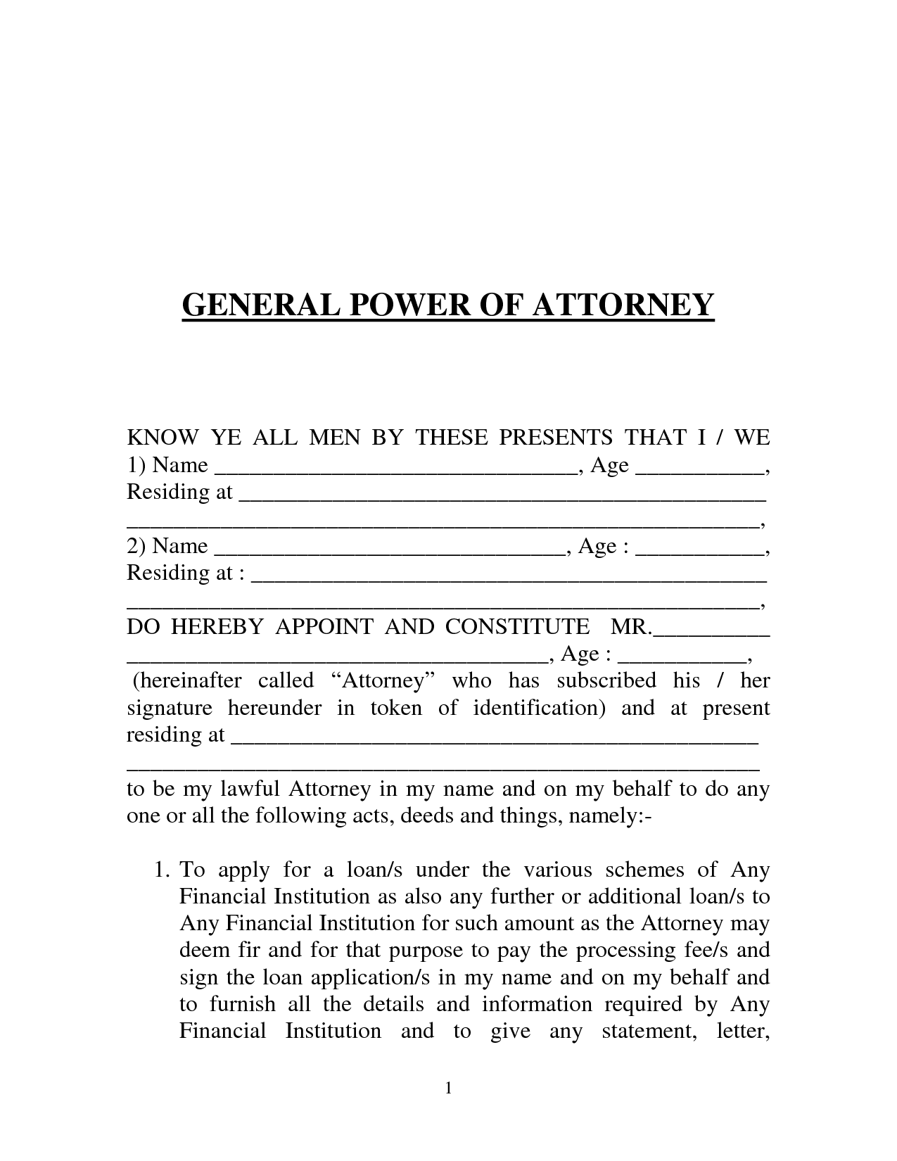 Free Printable Power Of Attorney Form GENERIC