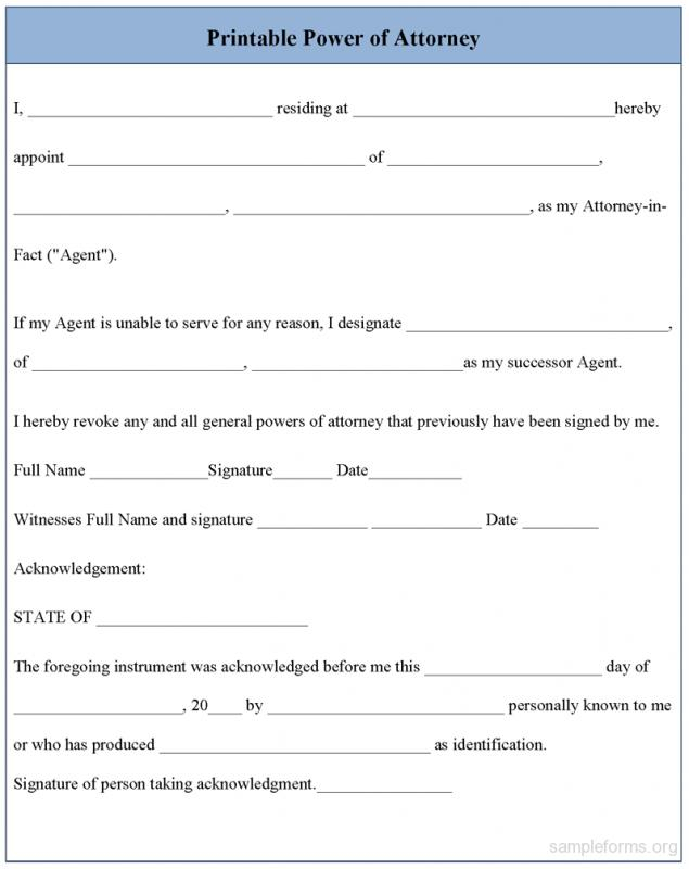 Free Printable Power Of Attorney Forms Template Business