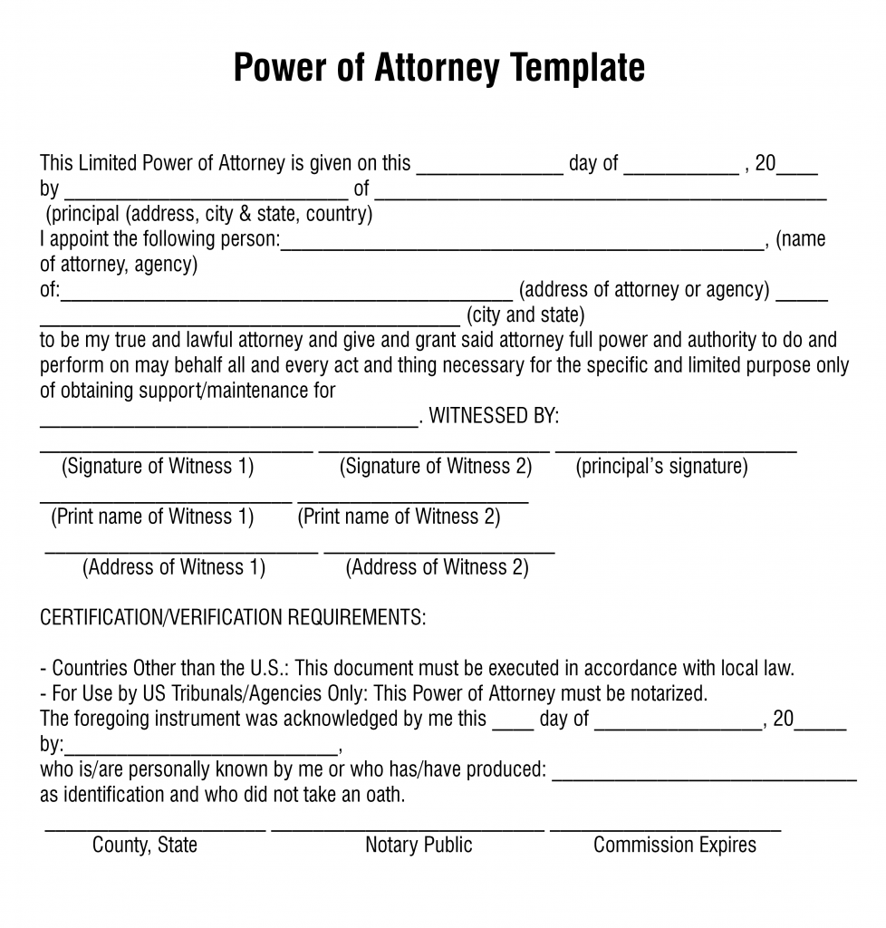 Free Printable Power Of Attorney Forms Word Or PDF