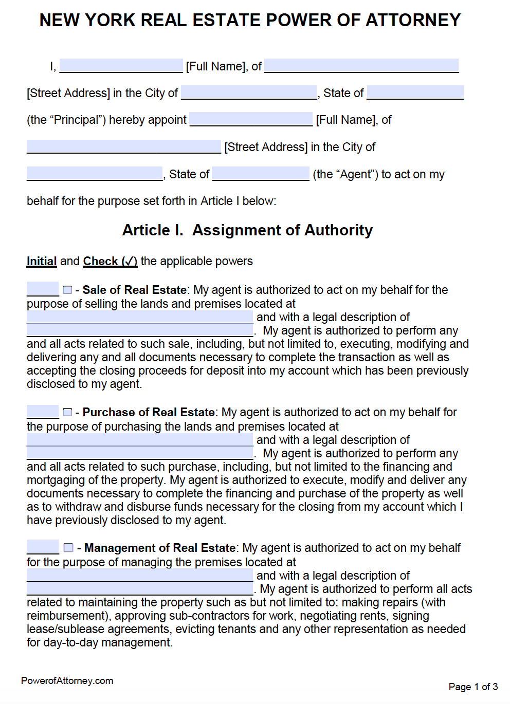 Free Real Estate Power Of Attorney New York Form PDF Word