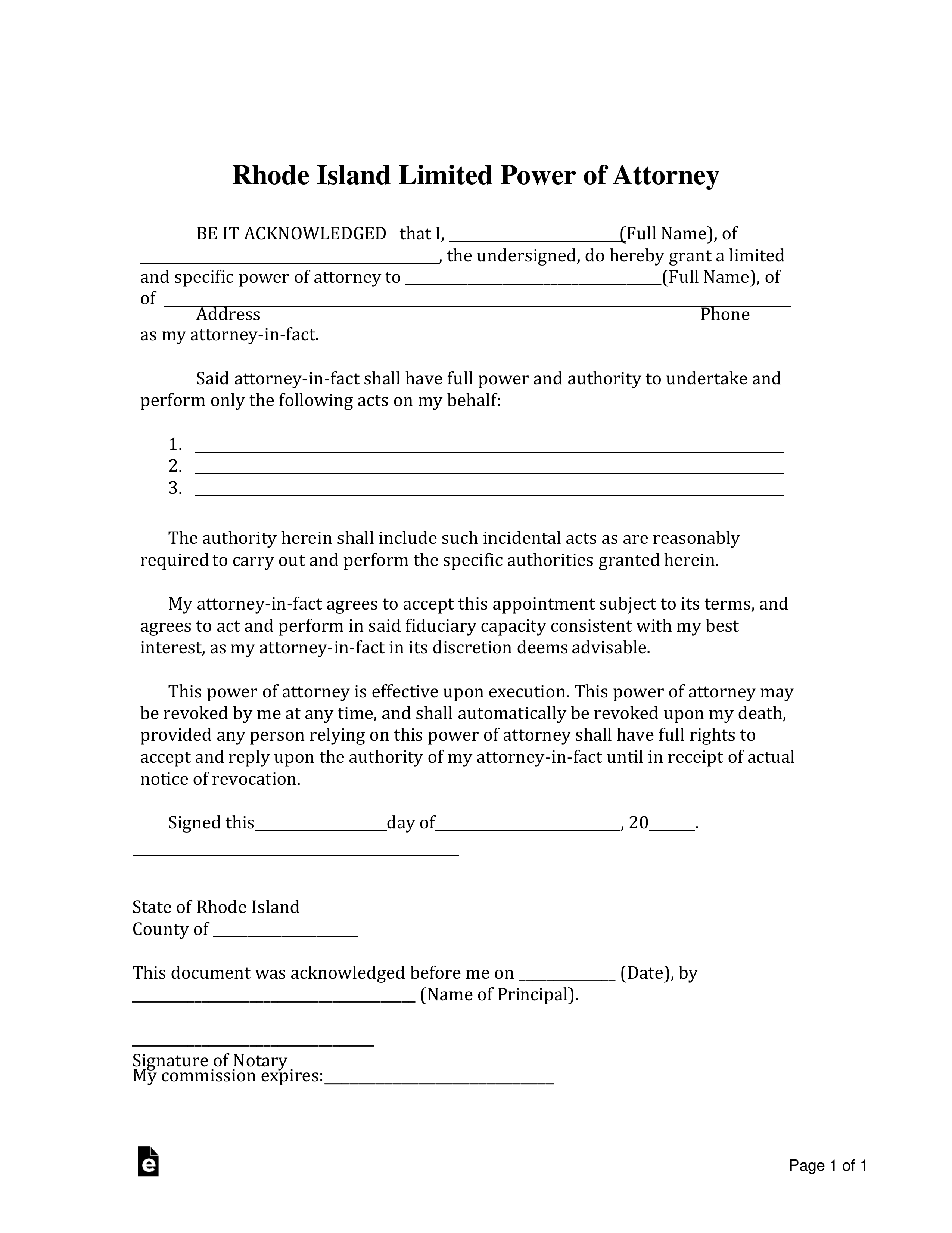 Free Rhode Island Limited Power Of Attorney Form Word