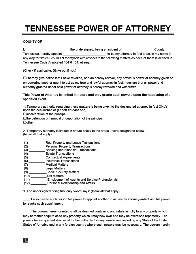 Free Tennessee Power Of Attorney Forms PDF Word Downloads