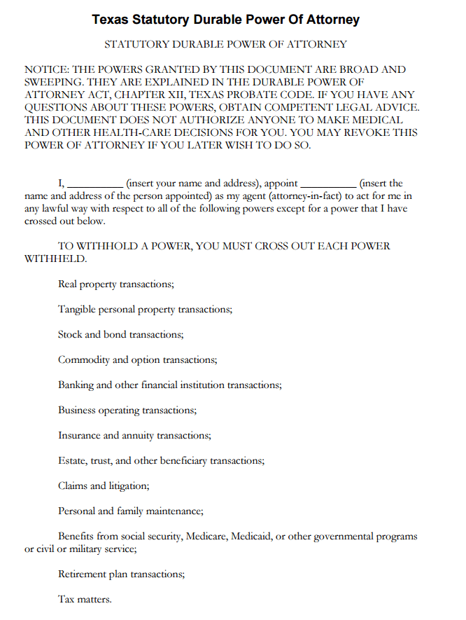 Free Texas Financial Durable Power Of Attorney Form PDF