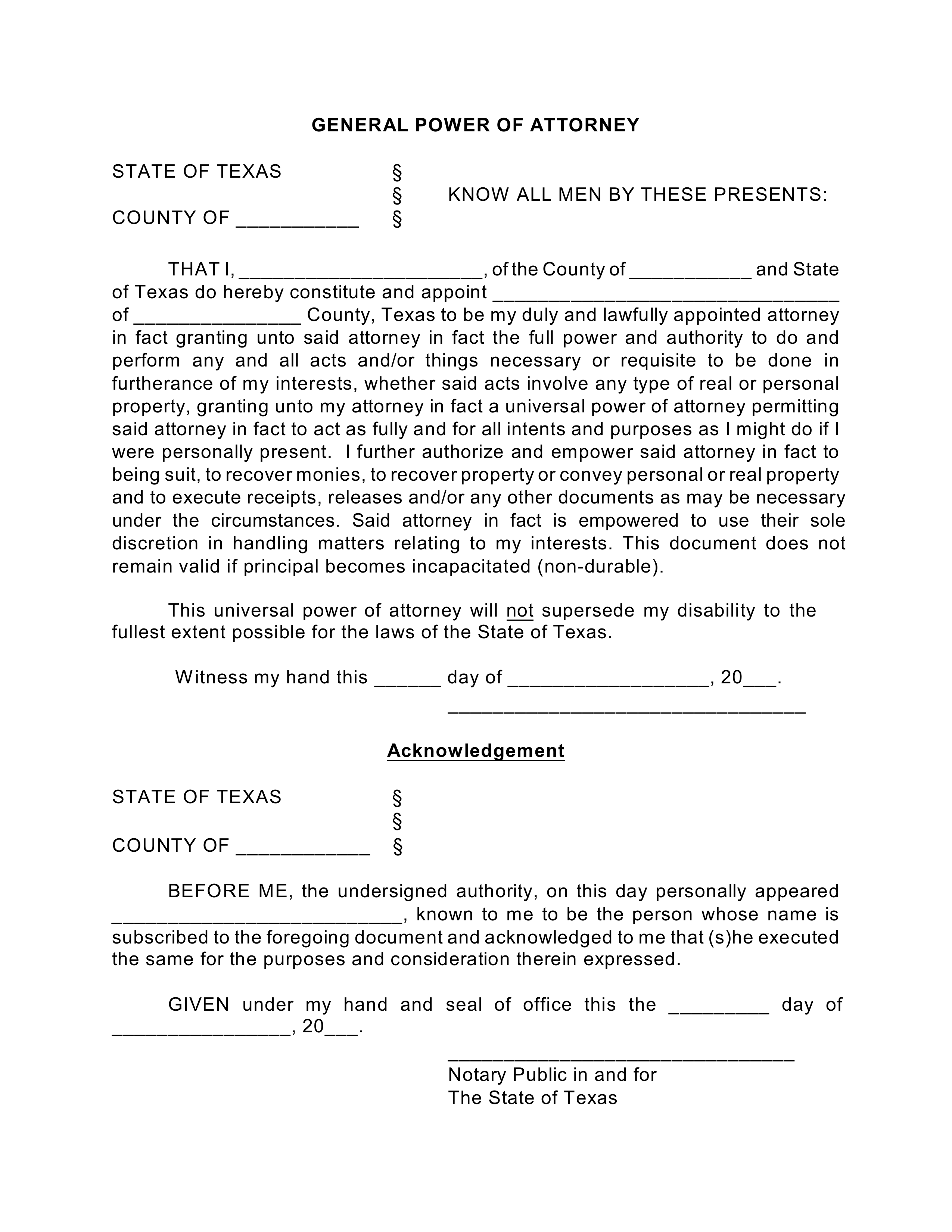 Free Texas General Financial Power Of Attorney Form