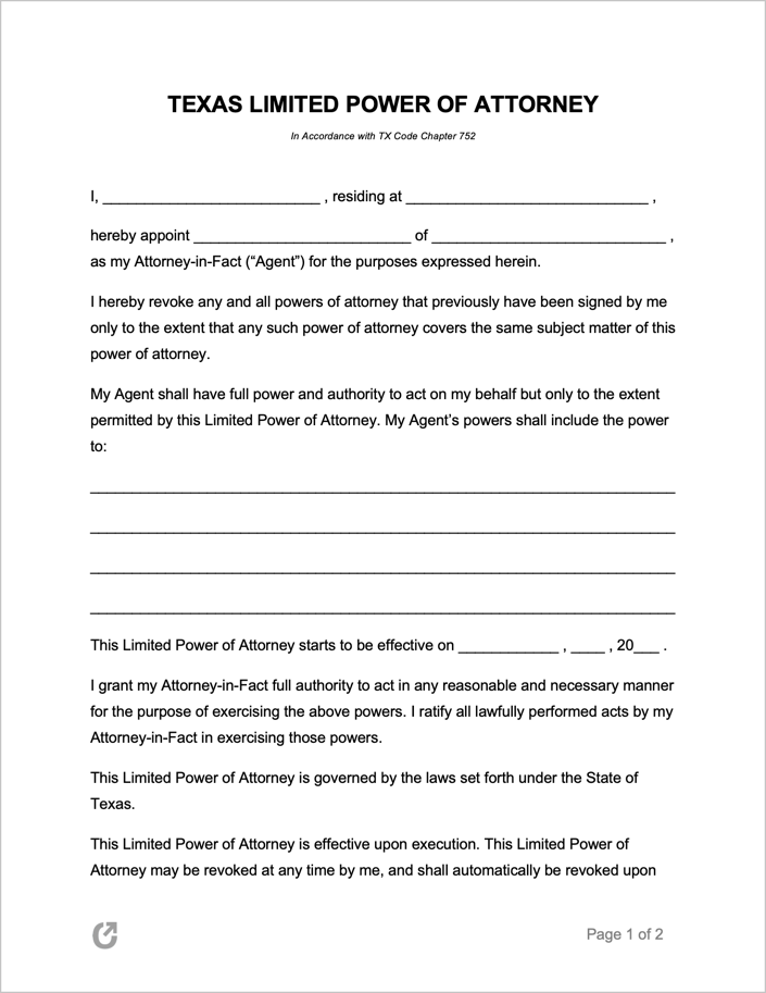 Free Texas Limited Special Power Of Attorney Form PDF