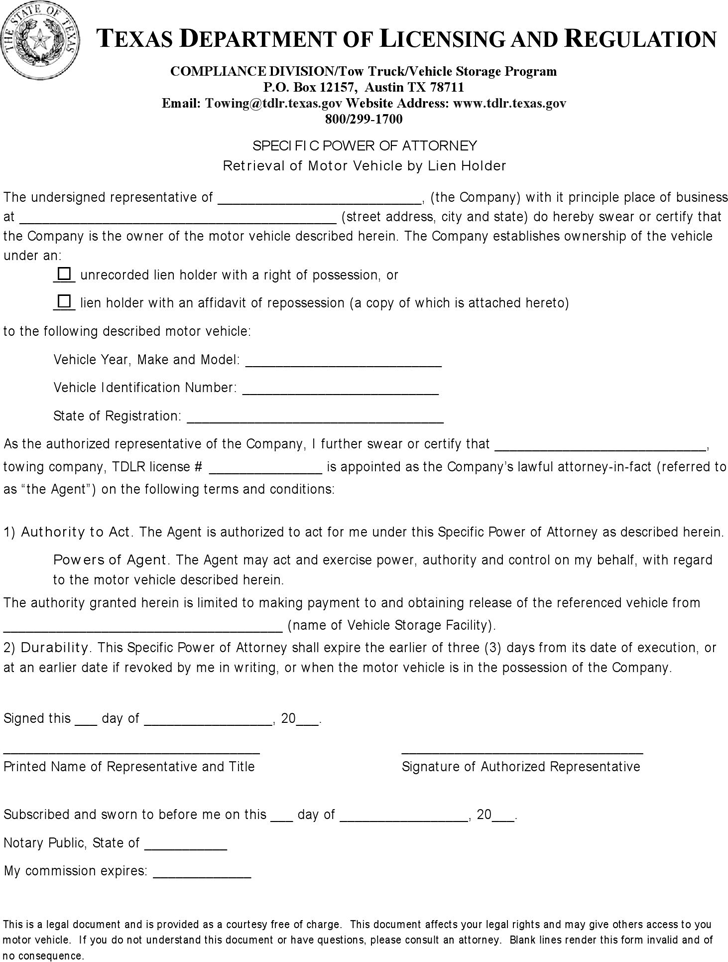 Free Texas Specific Power Of Attorney Retrieval Of Motor