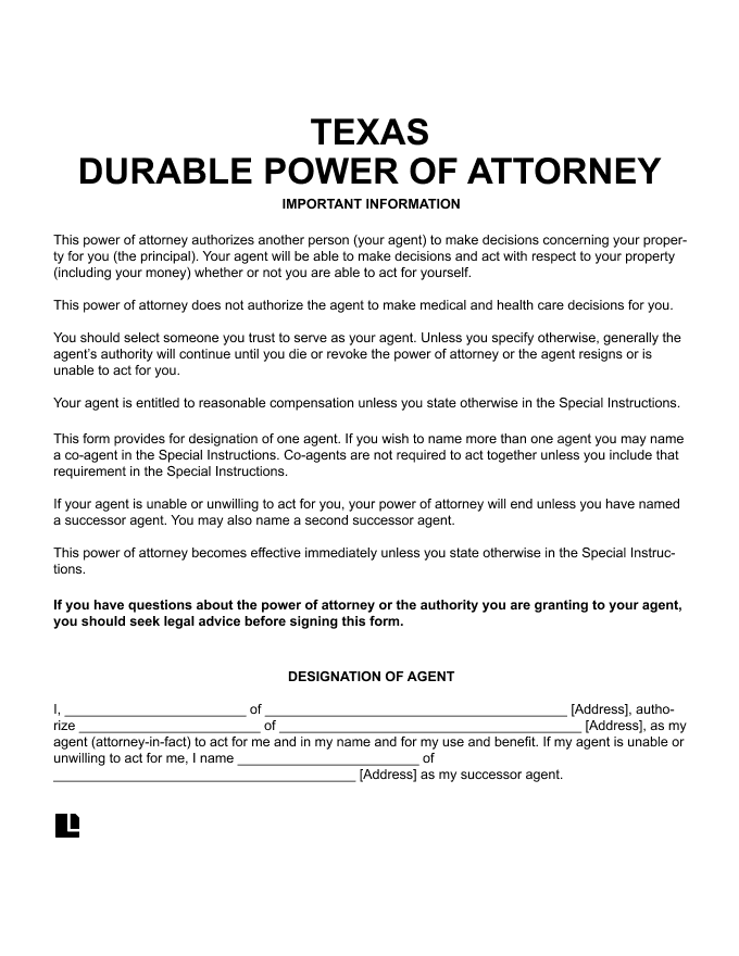 Free Texas TX Durable Power Of Attorney Form PDF Word