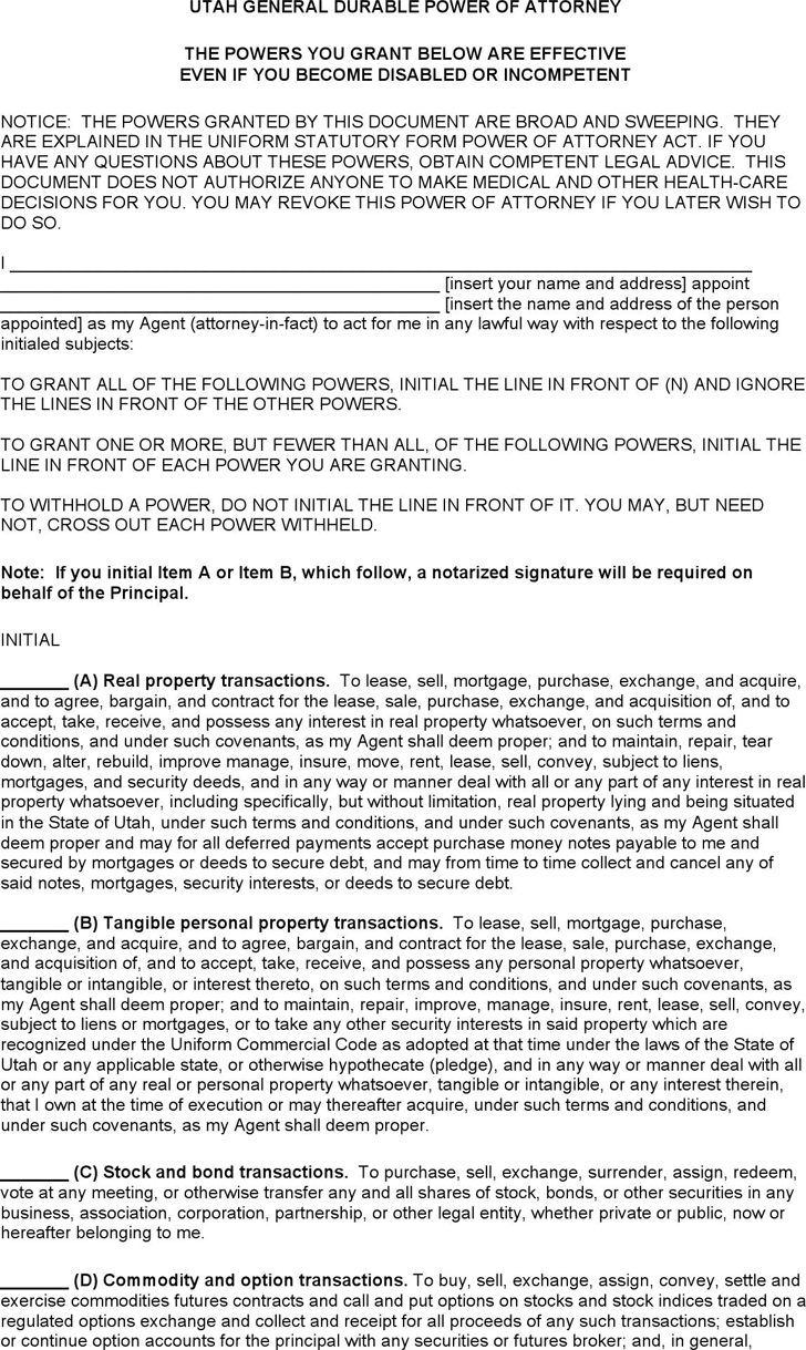 Free Utah General Durable Power Of Attorney Form Docx