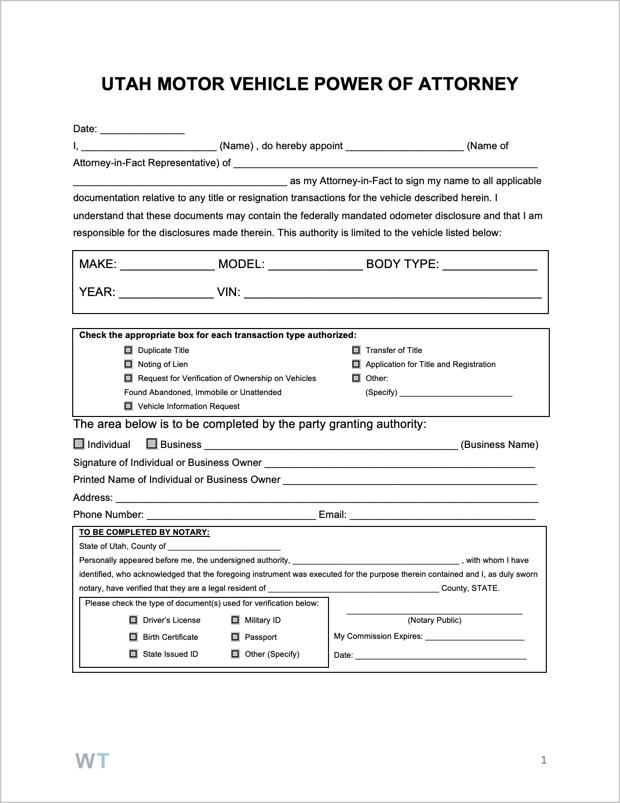 Free Utah Motor Vehicle Power Of Attorney Form PDF WORD
