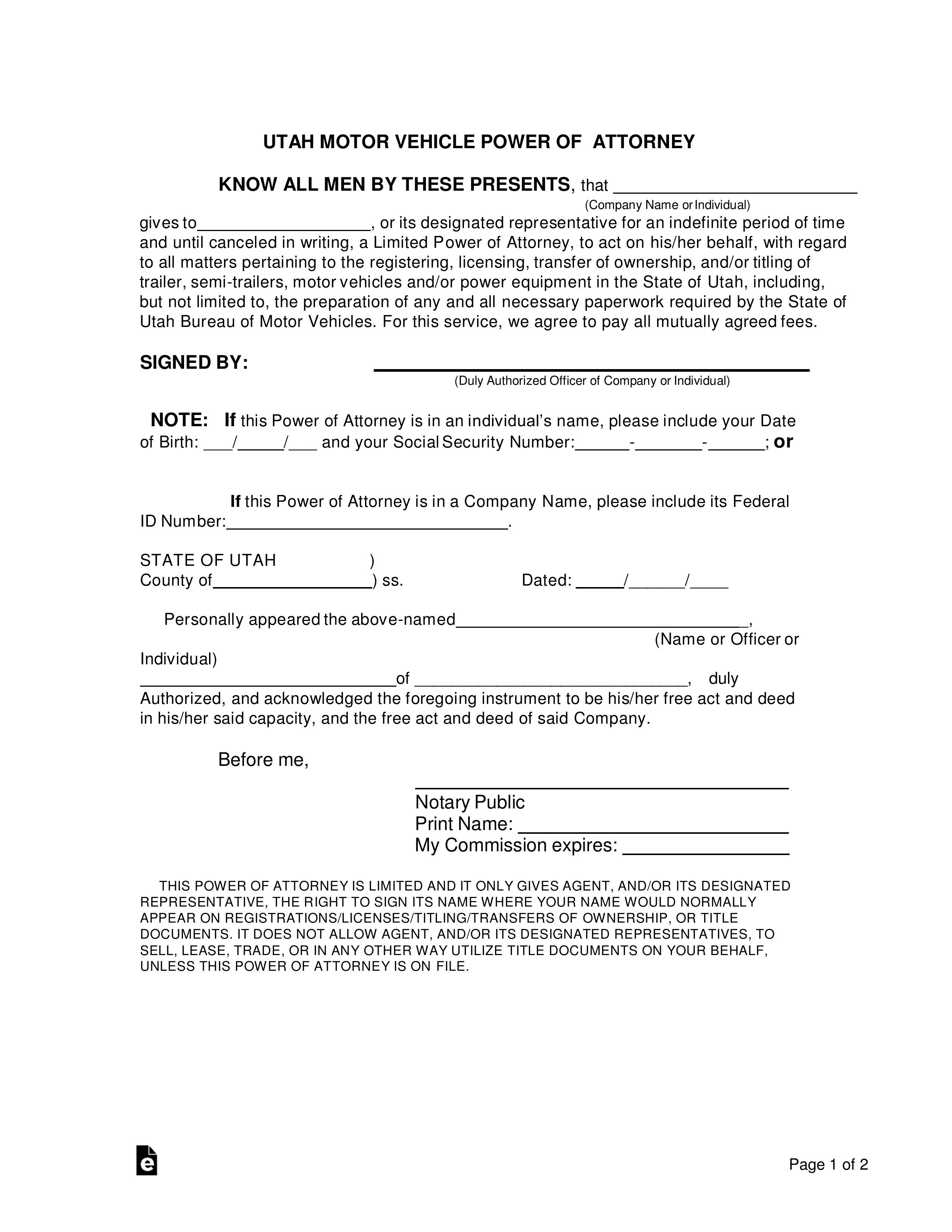 Free Utah Motor Vehicle Power Of Attorney Form Word