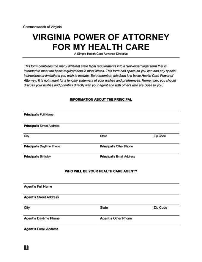 Free Virginia Medical Power Of Attorney Form Word PDF
