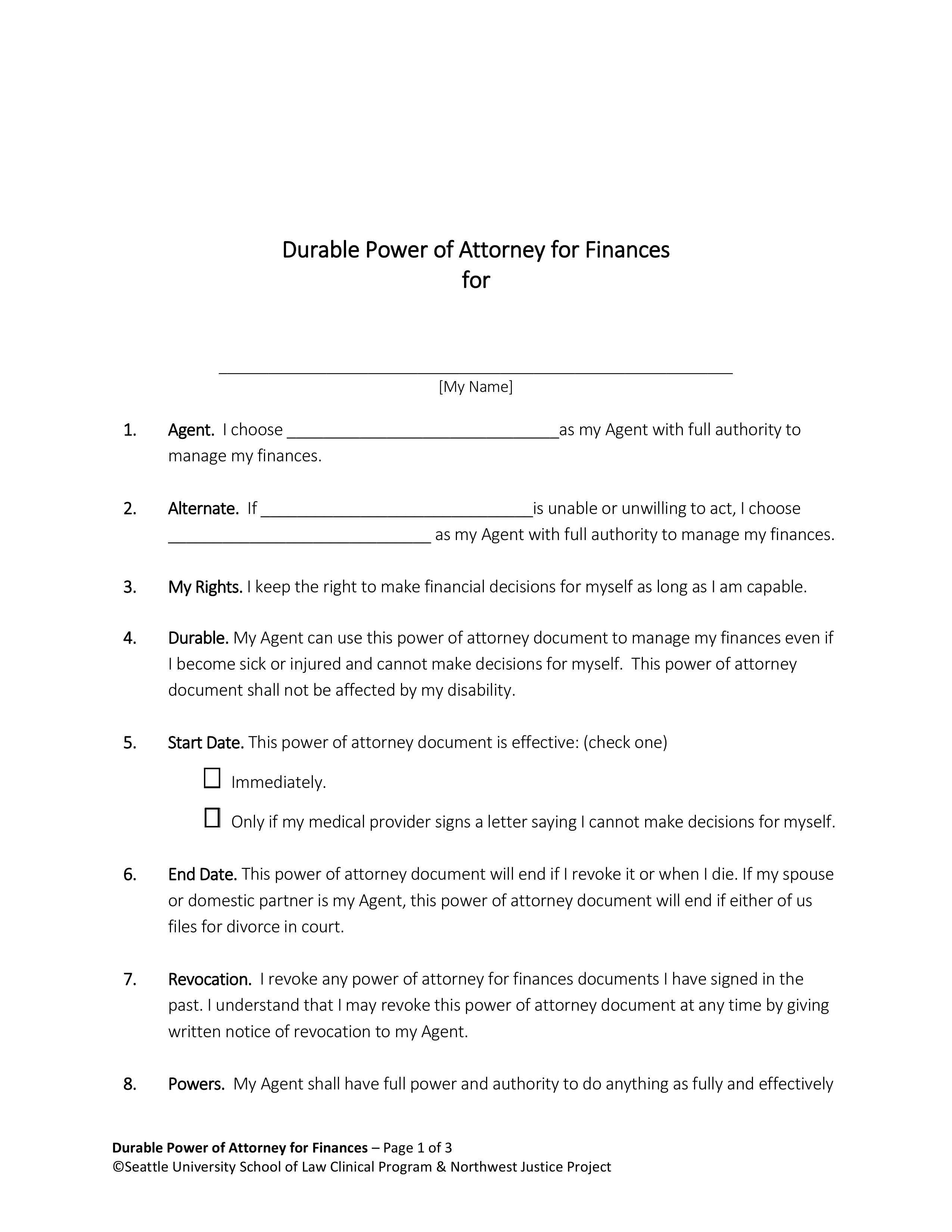 Free Washington Power Of Attorney Forms PDF EForms